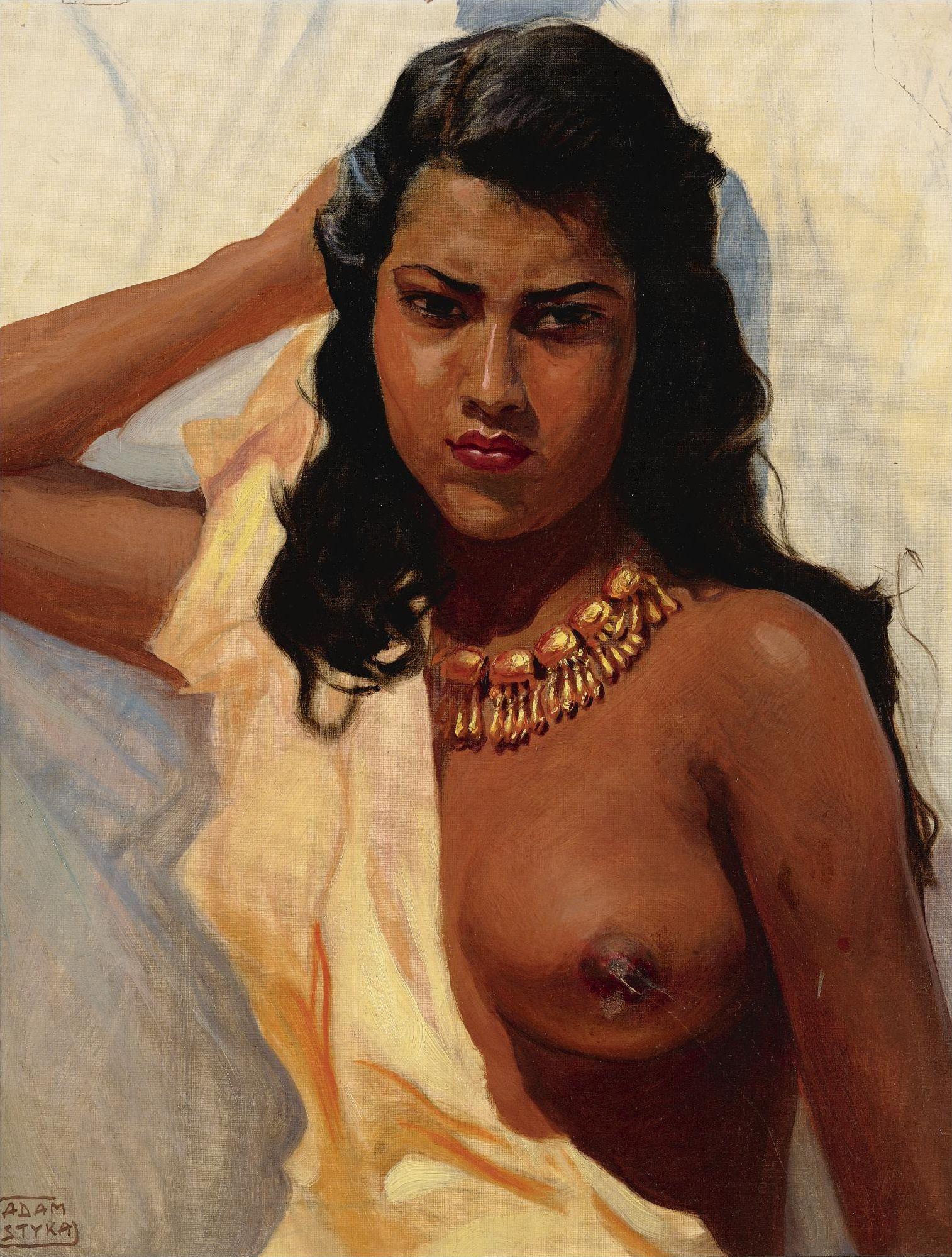 Adam Styka, 1890-1959. Молодая дочь Мексики. 50.8 х 40 см. Частная коллекция