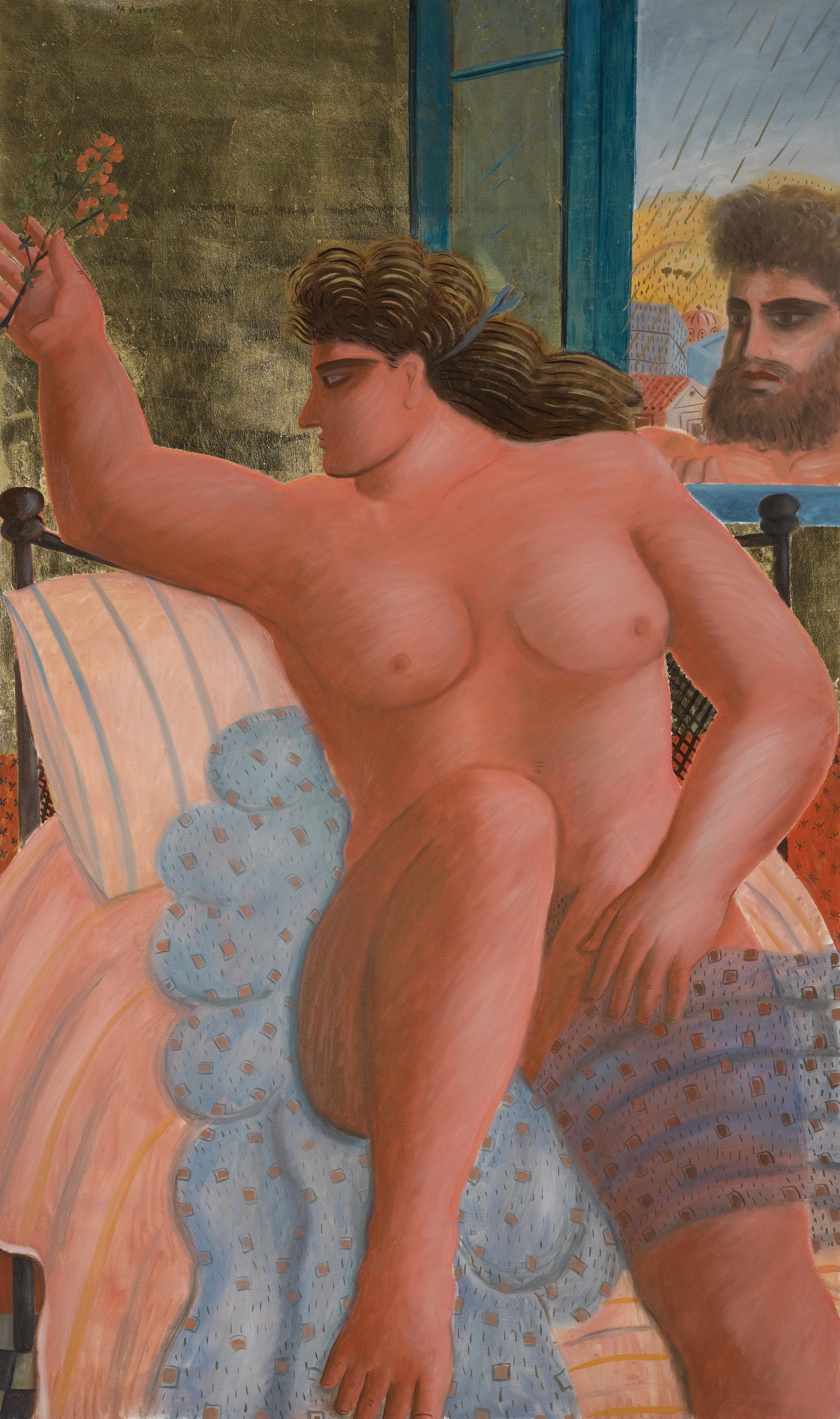 Alecos Fassianos, род в 1935. Зевс и Даная. 162 х 97 см. Частная коллекция
