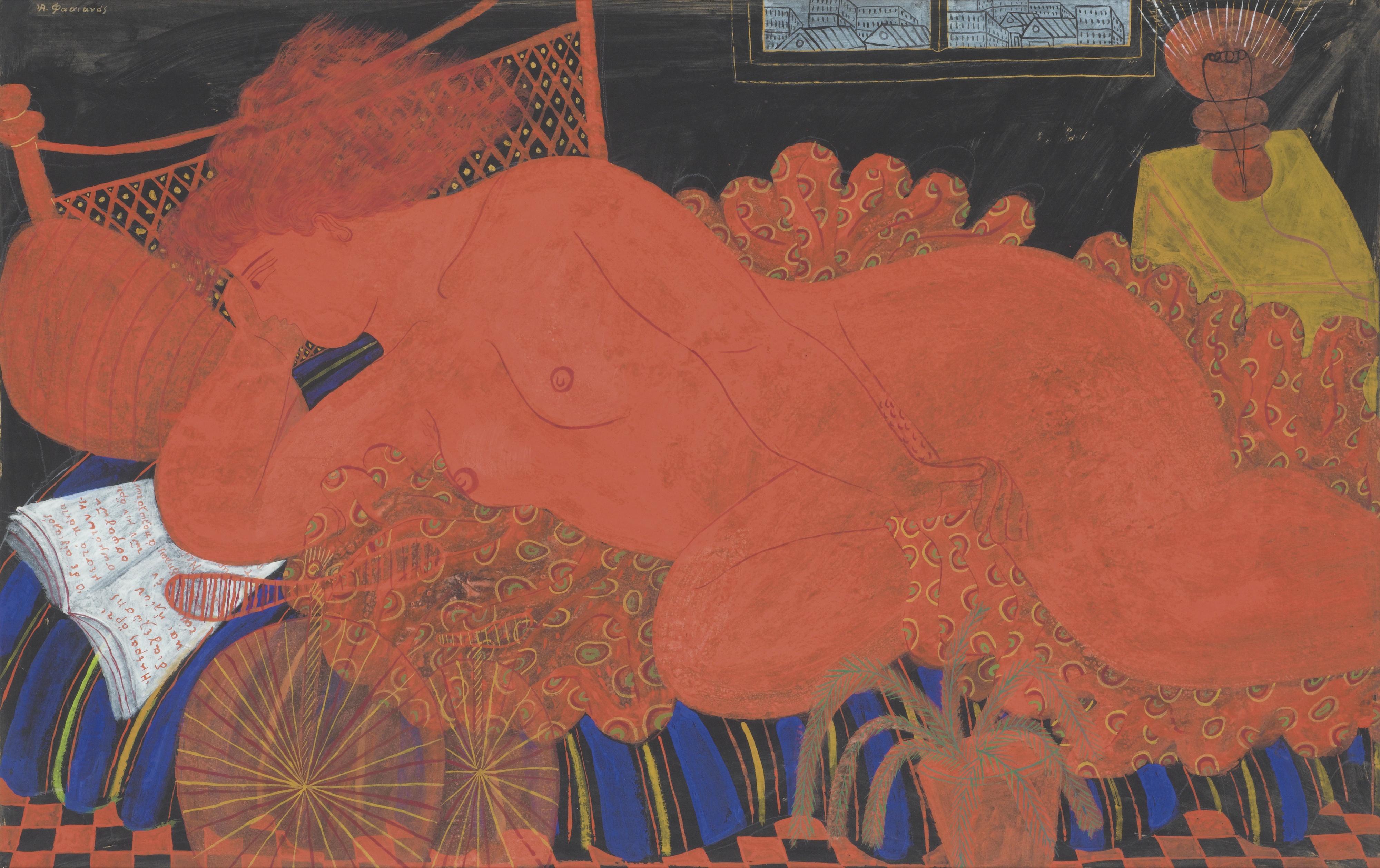 Alecos Fassianos, род в 1935. Красная обнаженная. 66.5 х 102.5 см. Частная коллекция