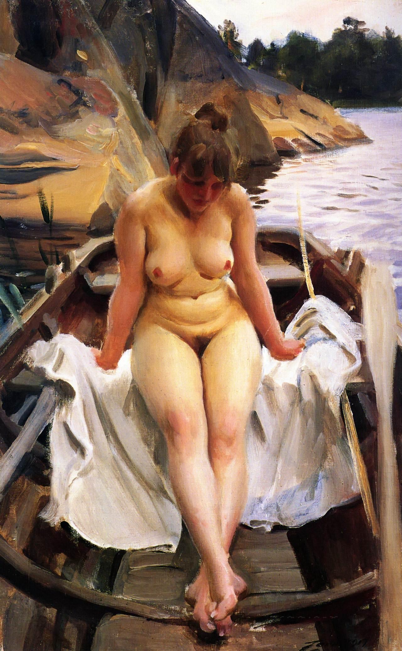Anders Leonard Zorn. 1860-1920. В лодке Вернера. 1917. Частная коллекция