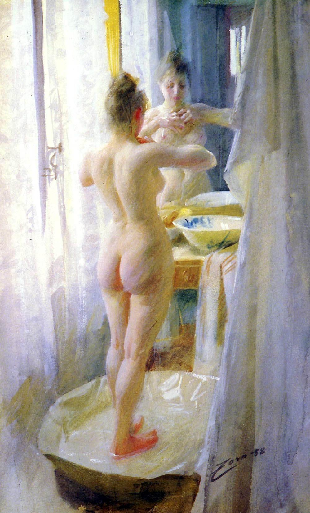 Anders Leonard Zorn. 1860-1920. Ванная комната. 1888, акварель. Частная коллекция