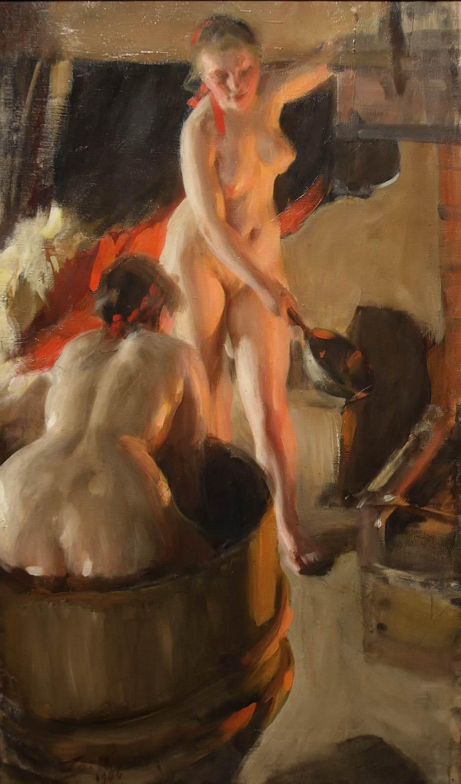 Anders Leonard Zorn. 1860-1920. Женщины в сауне. 86 х 53 см. Мура, Музей Цорна