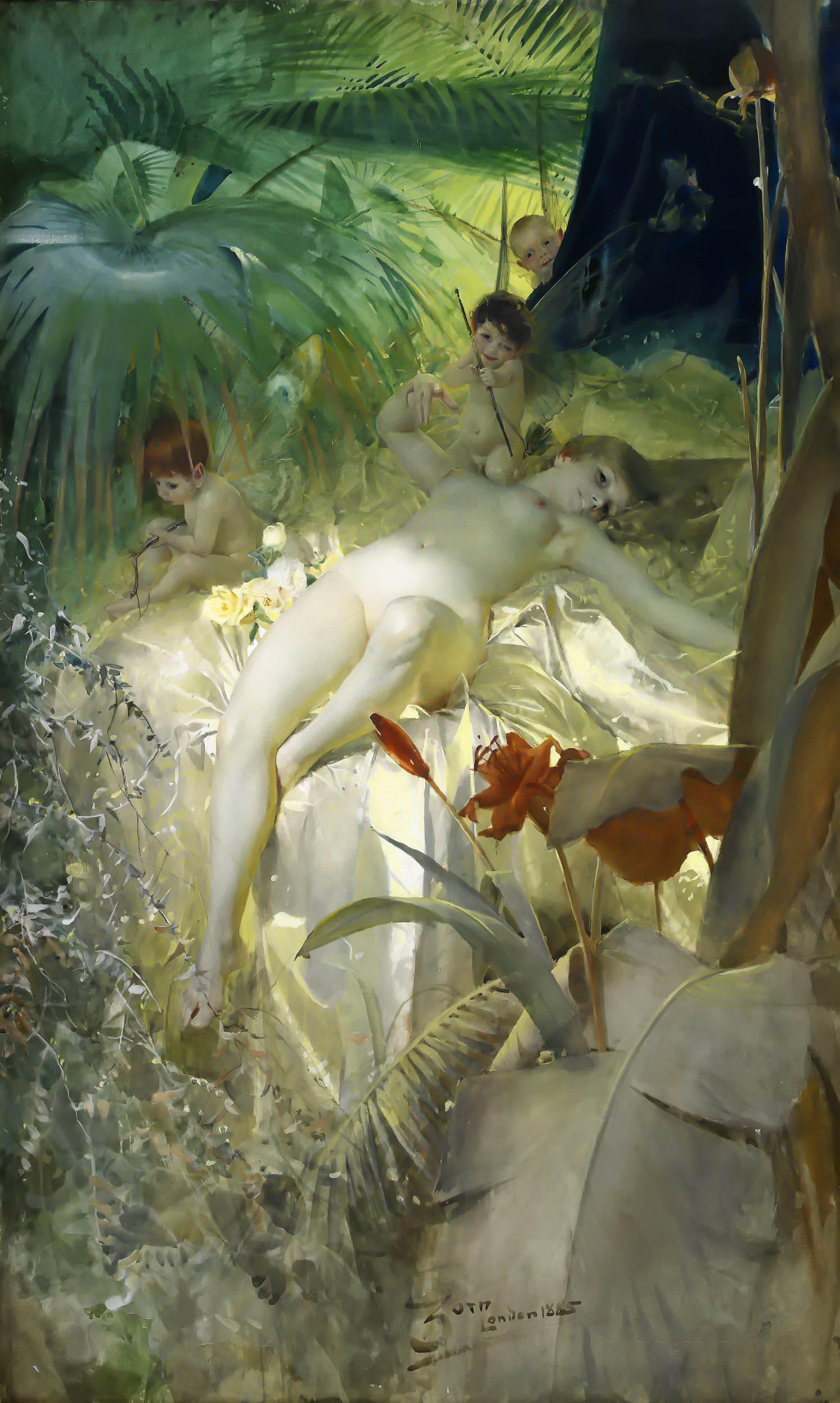 Anders Leonard Zorn. 1860-1920. Нимфа любви. 1885, 106 х 64 см. Частная коллекция