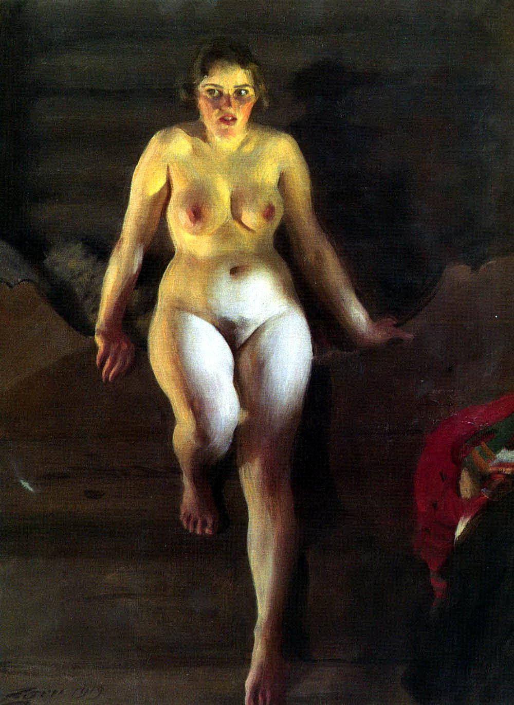 Anders Leonard Zorn. 1860-1920. Обнаженная на кровати. 1919, 100 х 75 см. Частная коллекция