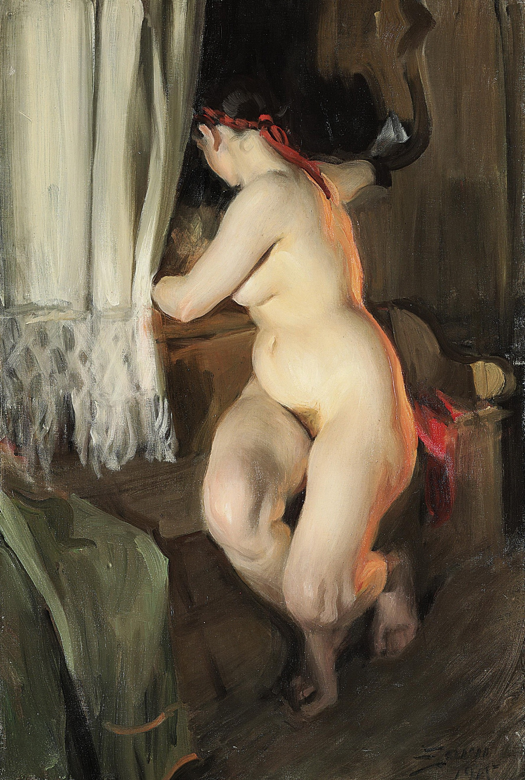 Anders Leonard Zorn. 1860-1920. Повернувшаяся обнаженная. 1915, 91 х 60 см. Частная коллекция