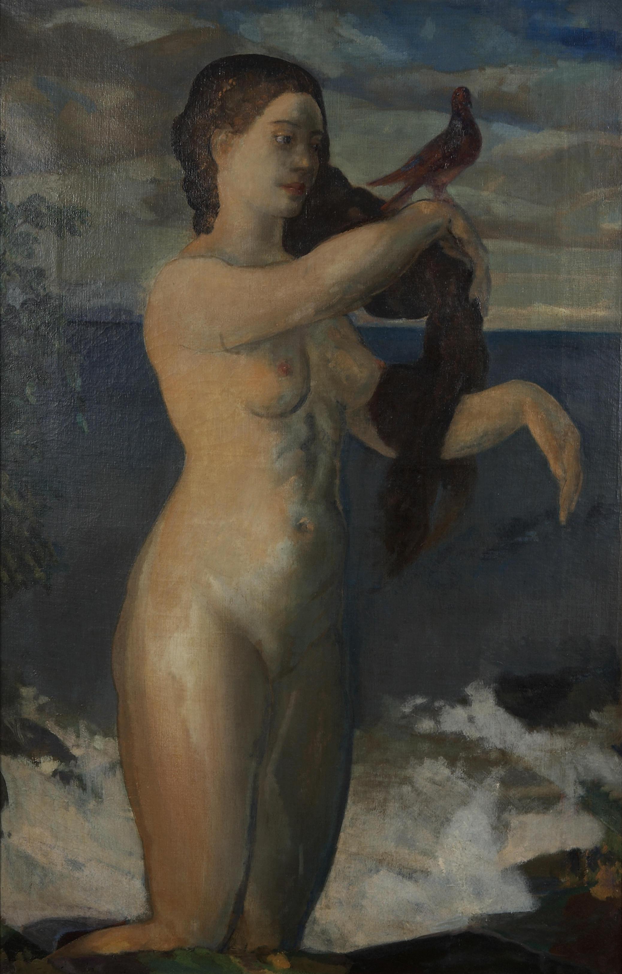 Arthur Bowen Davies, 1862-1928. Девушка и птица. Частная коллекция