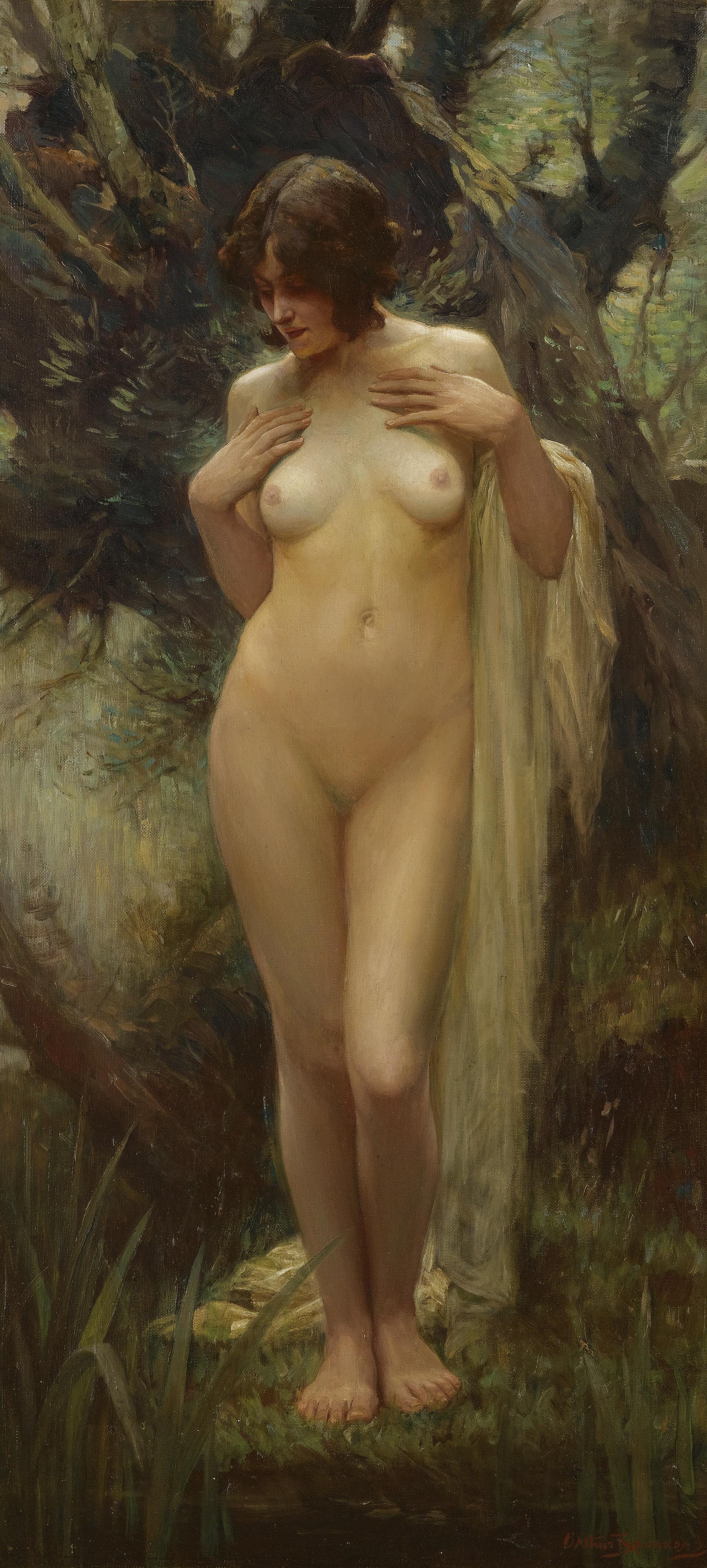 Arthur Spooner, 1873-1962. Нимфа в лесу.107 х 51 см. Частная коллекция
