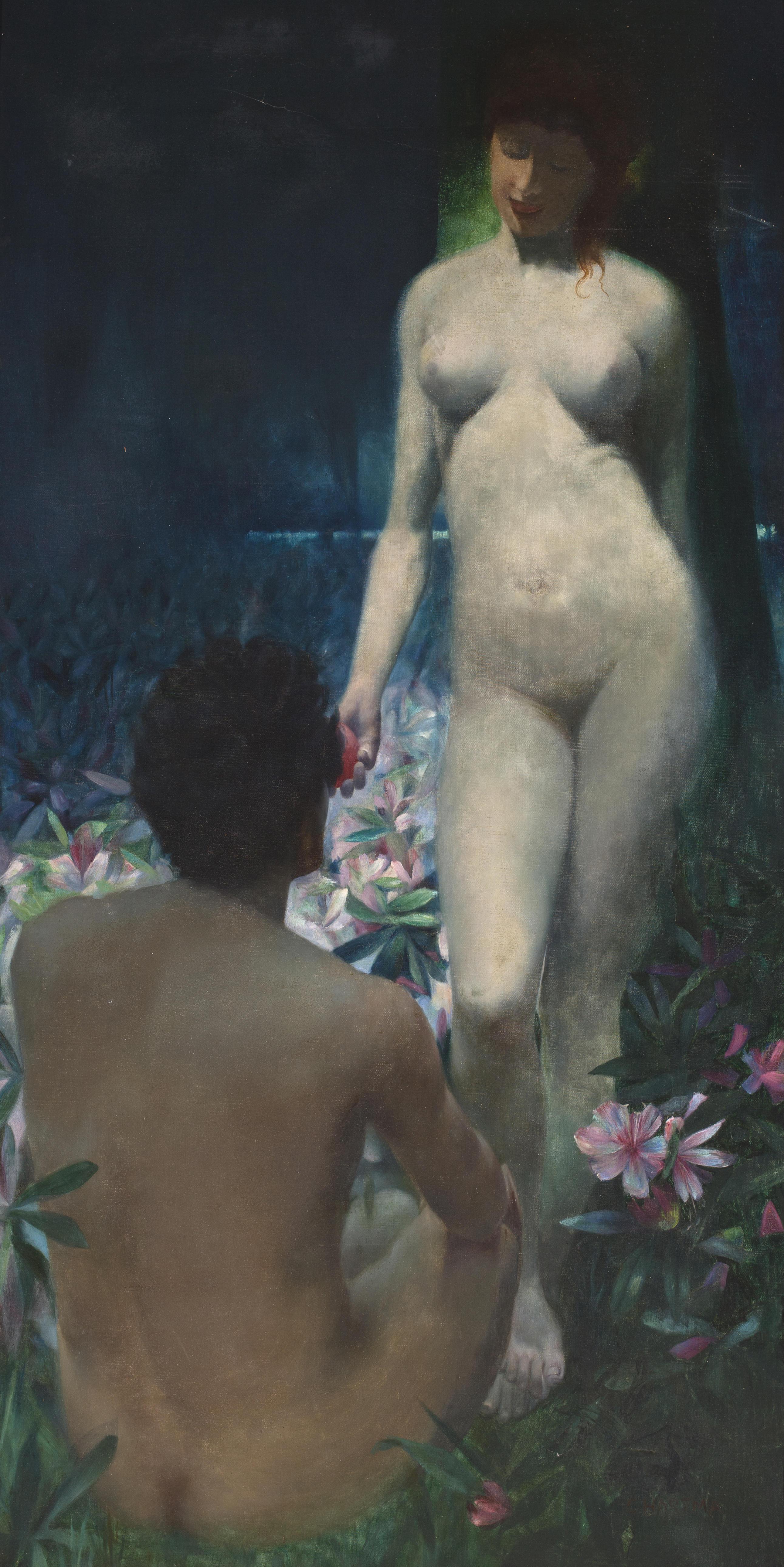 C. Hartma. Ева соблазняет Адама. 198.8 х 100.3 см. Частная коллекция
