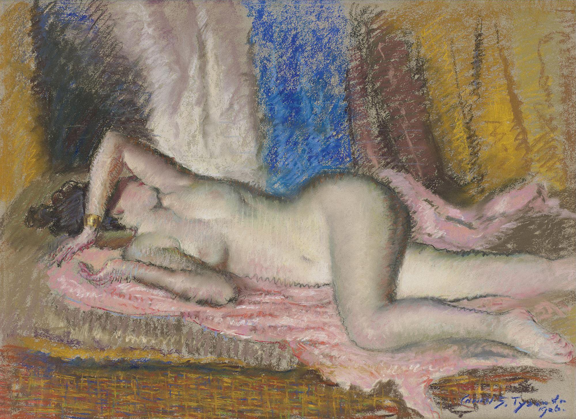 Carroll Sargent Tyson, 1877-1956. Лежащая обнаженная. 48.9 х 64.8 см. пастель. Частная коллекция