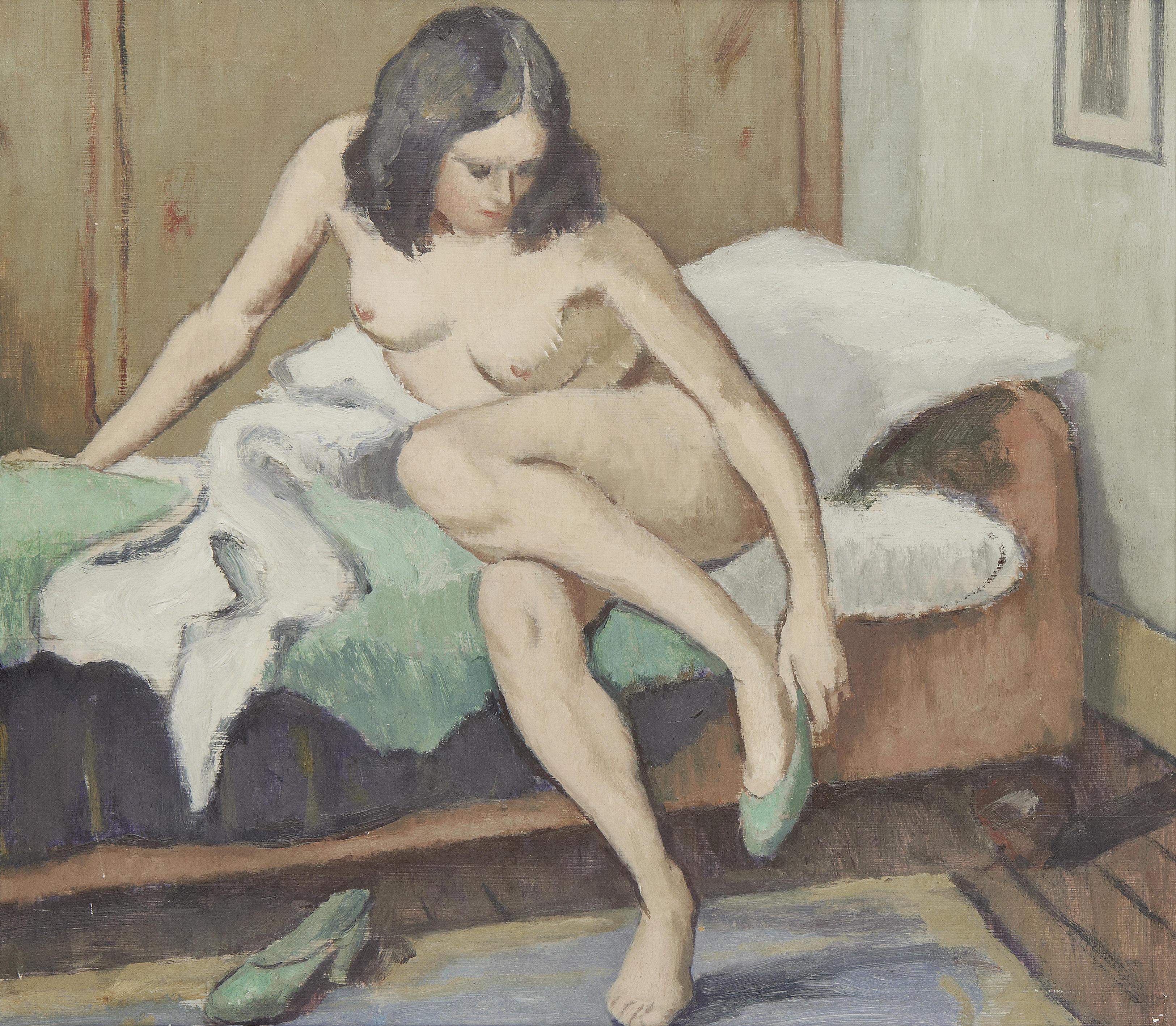 Clifford Hall, 1904-1973. Сидящая обнаженная с зелеными туфлями. 37.5 x 42.5 см. Частная коллекция