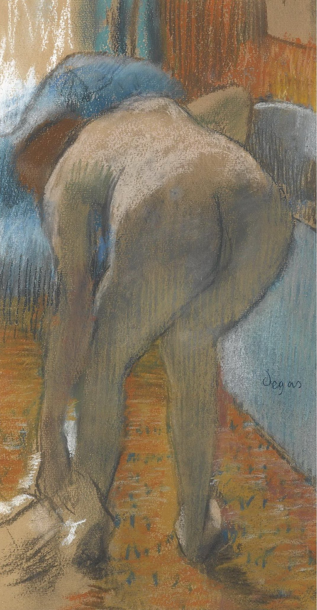 Edgar Degas, 1834-1917. Выход из ванной. 1885. 44 х 24 см. Частная коллекция