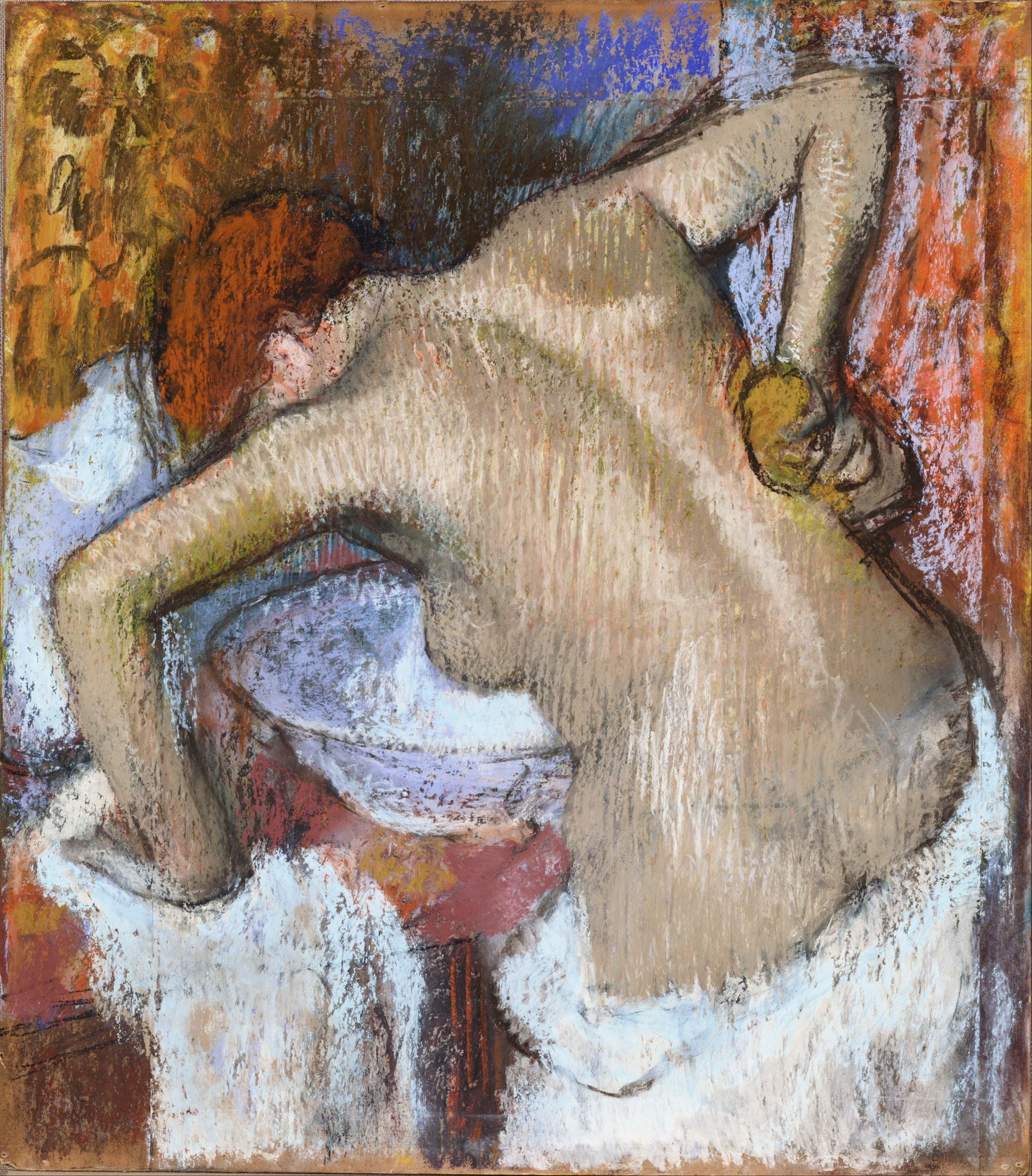 Edgar Degas, 1834-1917. Женщина за туалетом. 1888-1892. 70.9 х 62.4 см. пастель. Токио, Национальный музей западного искусства