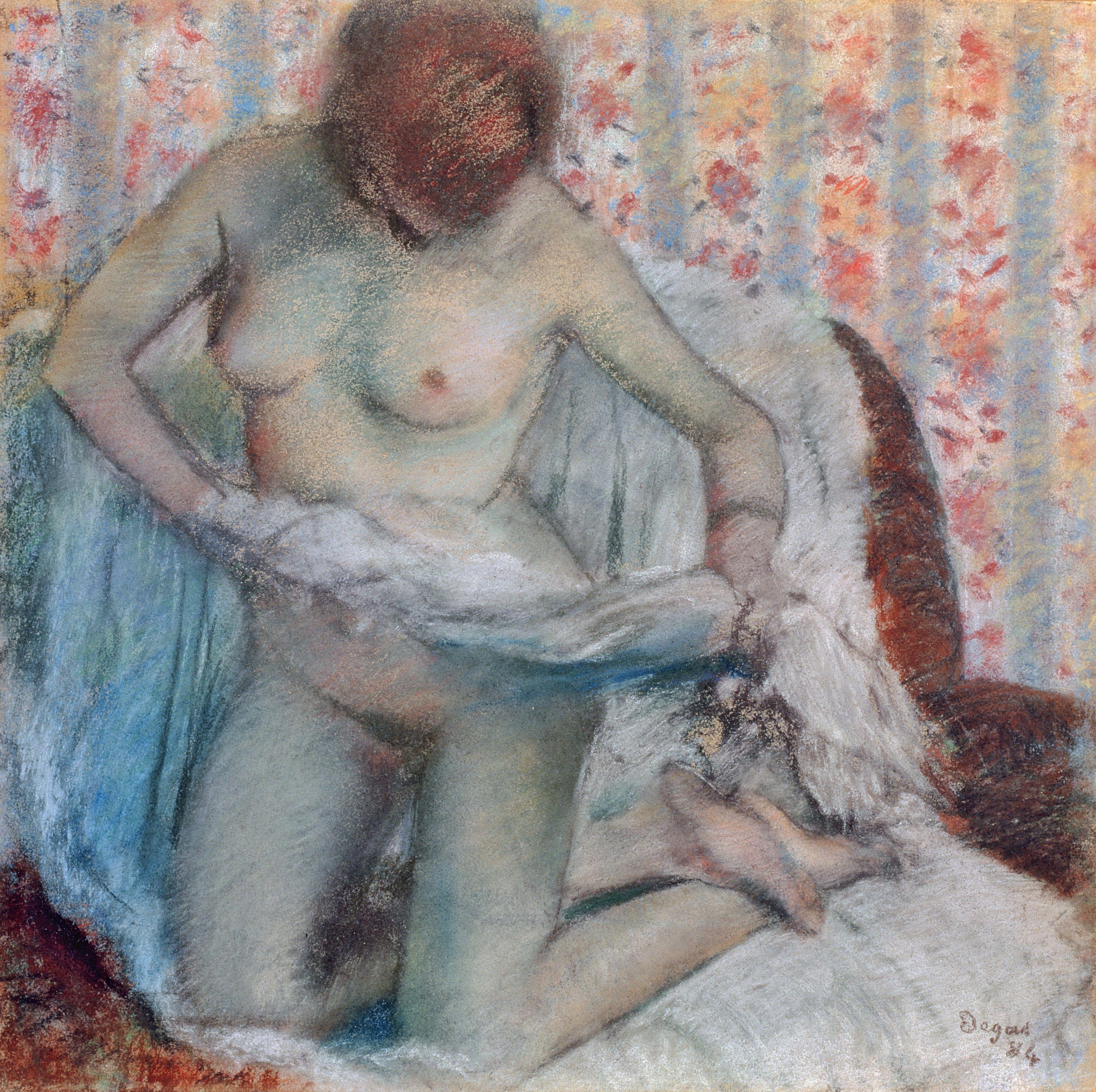 Edgar Degas, 1834-1917. Женщина за туалетом. 1895. 50 х 50 см. Санкт-Петербург, Эрмитаж