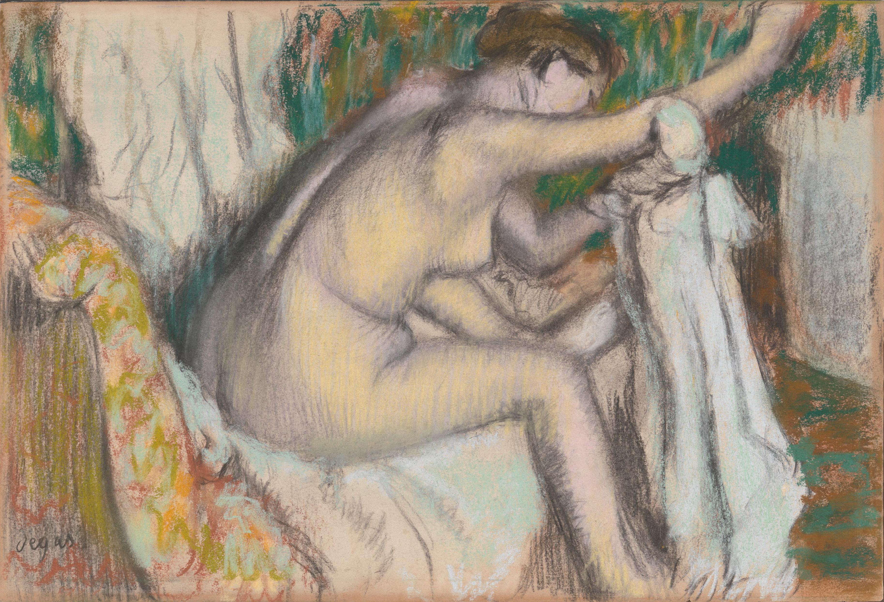 Edgar Degas, 1834-1917. Женщина, вытирающая руку. 1880-1890-е. 30.5 х 44.5 см. Нью-Йорк, Метрополитен