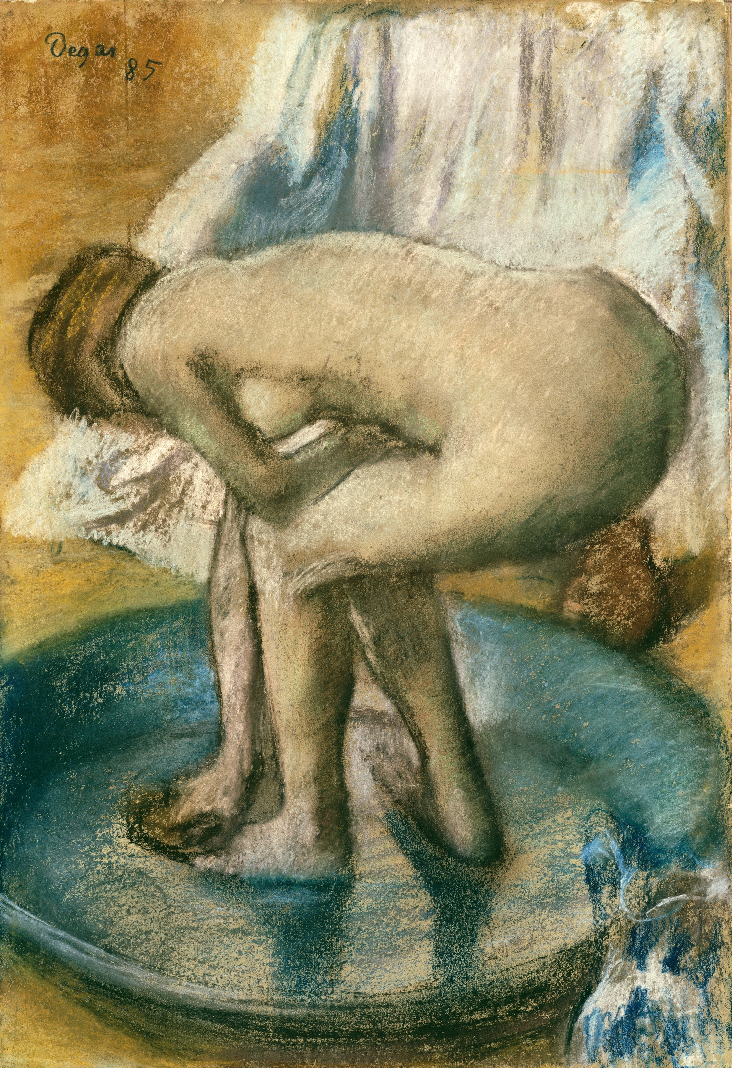 Edgar Degas, 1834-1917. Женщина, купающаяся в тазу. 1885. 81.3 х 56.2 см. Нью-Йорк, музей Метрополитен