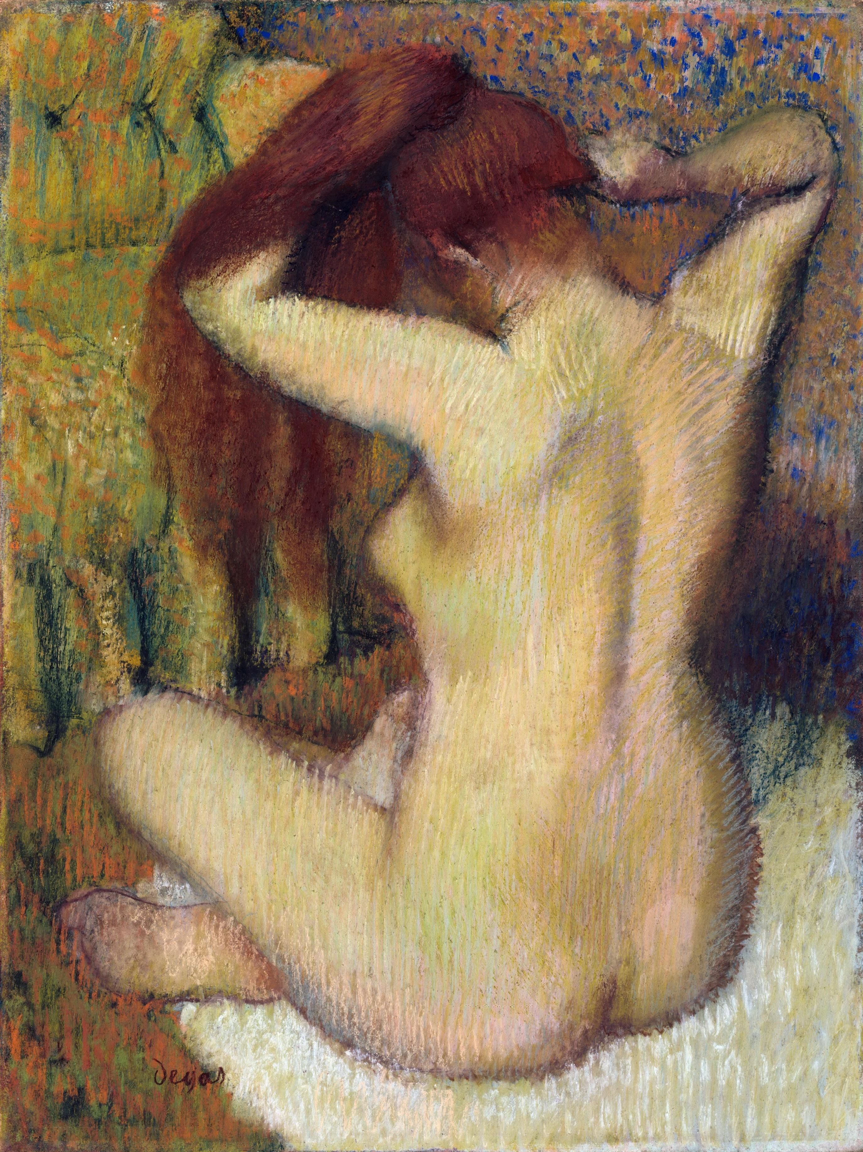 Edgar Degas, 1834-1917. Женщина, расчёсывающая свои волосы. 1888-1890. 61.3 х 46 см. Нью-Йорк, музей Метрополитен