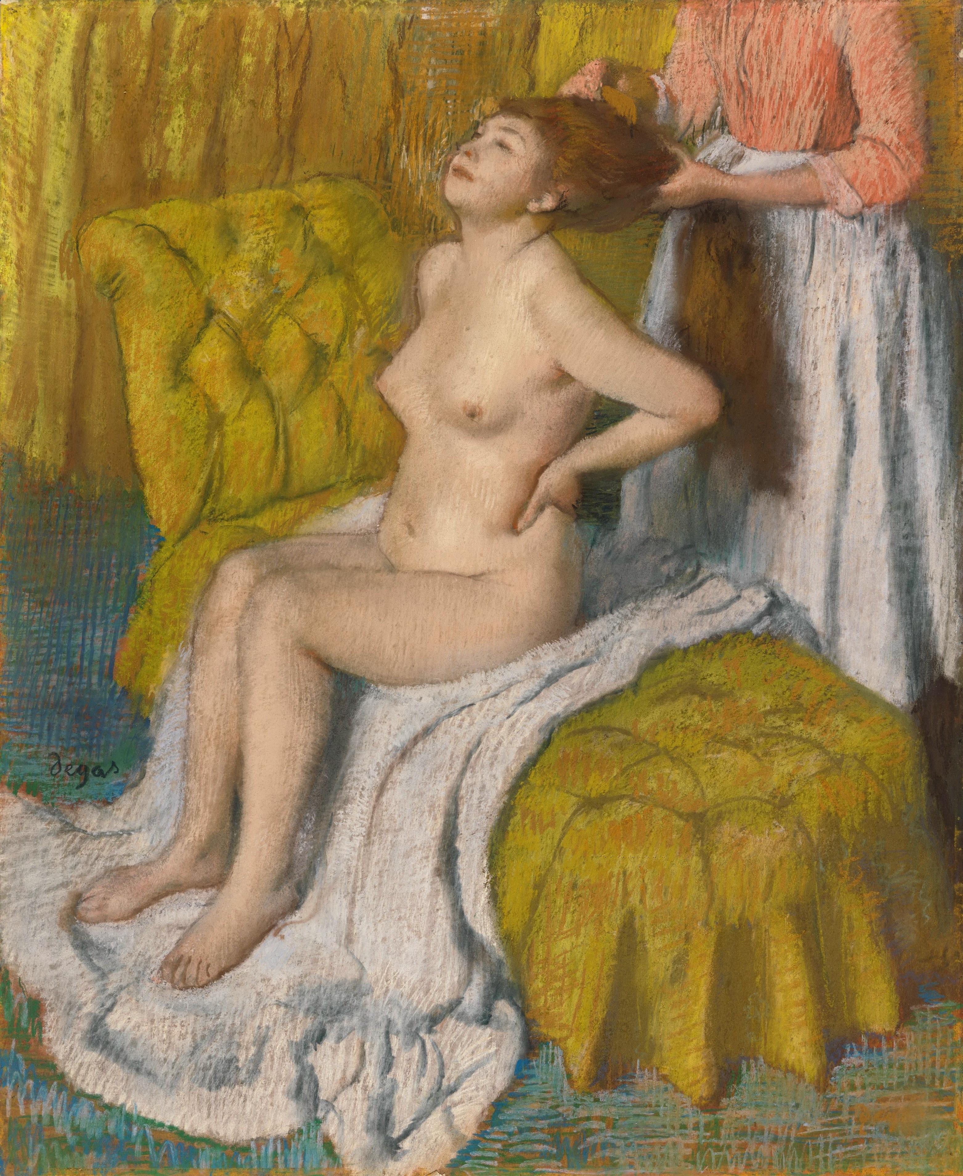 Edgar Degas, 1834-1917. Расчёсывание волос. 1886-1888. 74 х 60.6 см. Нью-Йорк, музей Метрополитен