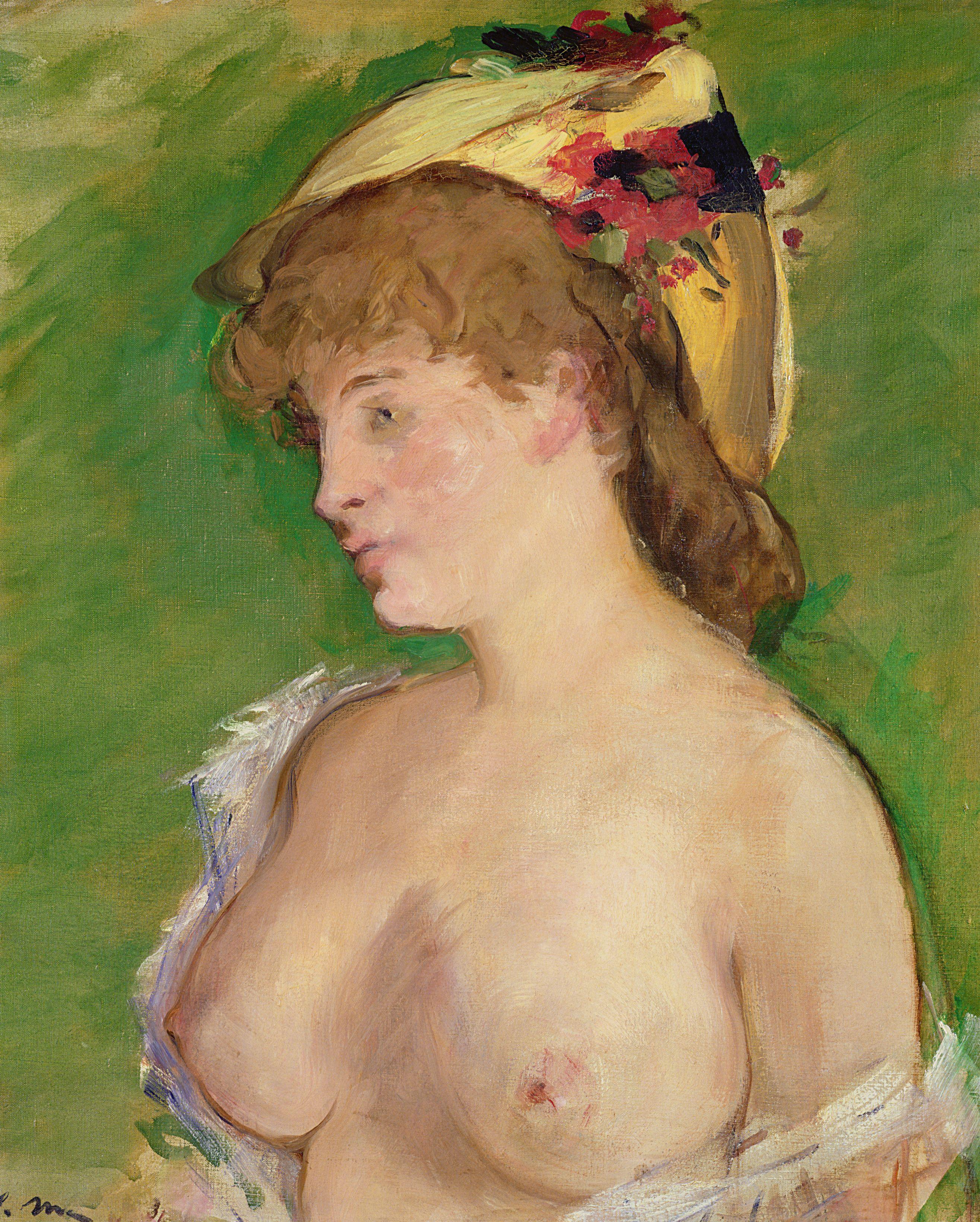 Edouard Manet, 1832-1883. Блондинка с обнажённой грудью. 1878. 62 х 52 см. Париж, музей Орсе