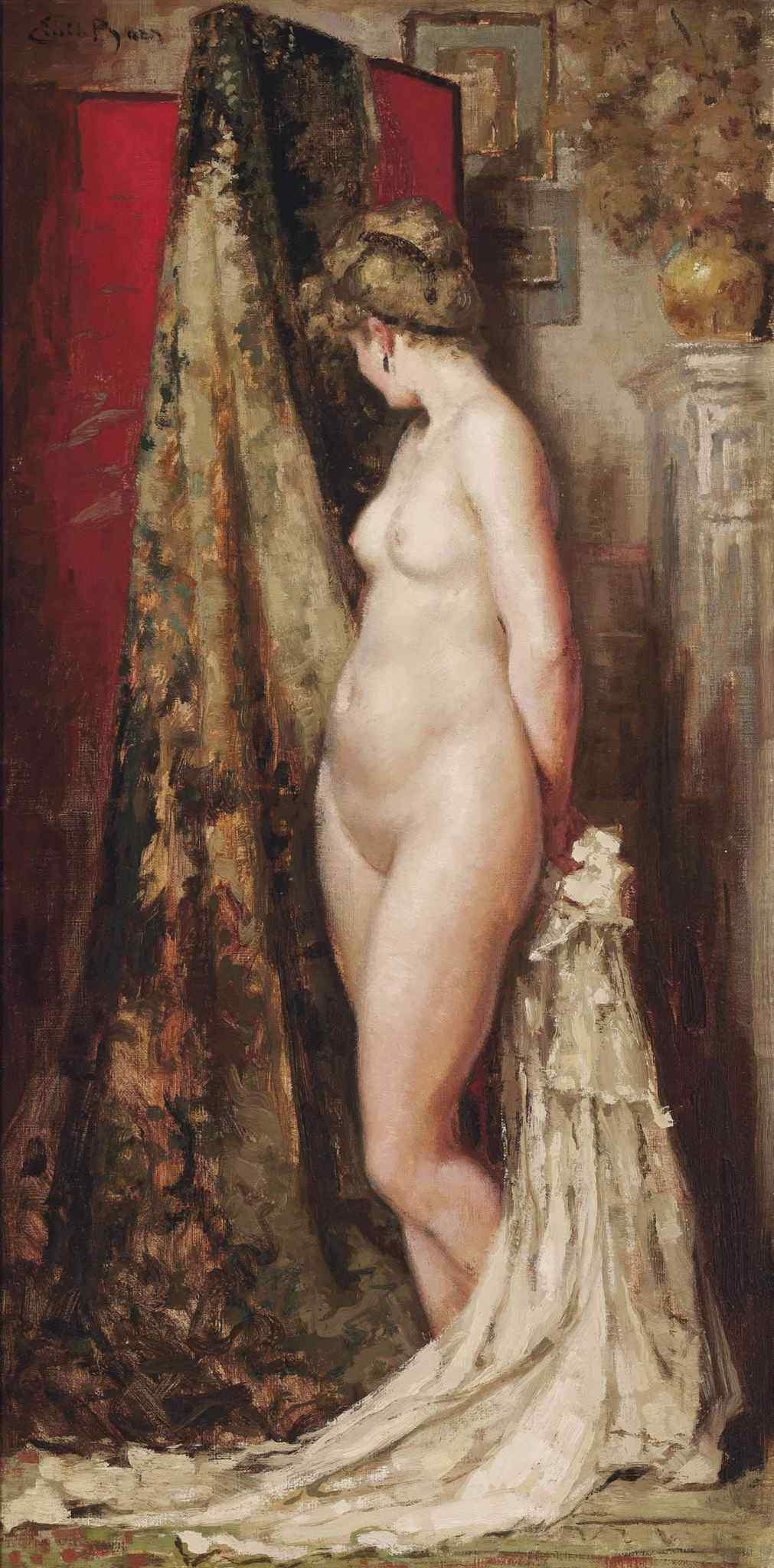 Emile Baes, 1879-1953. Обнаженная модель. 80 x 40.3 см. Частная коллекция