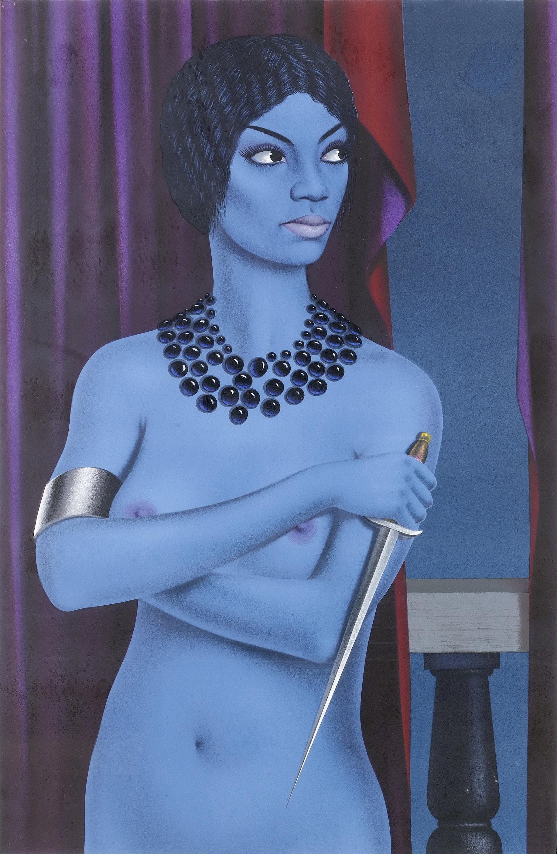 Felix Labisse, 1905-1982. Голубая обнаженная. 55 x 75 см. Частная коллекция