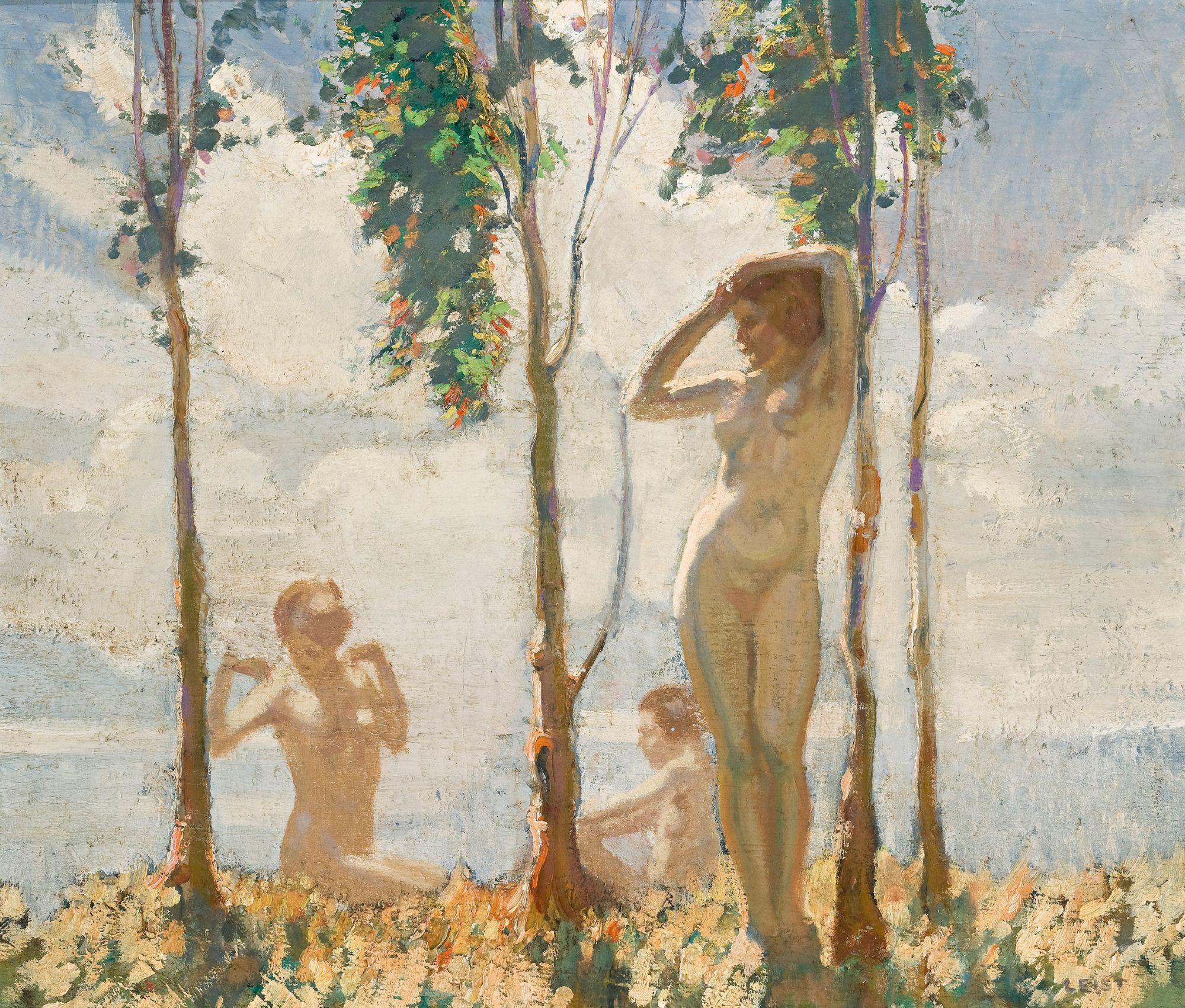 Fred Leist, 1878-1945. Три нимфы. 35.2 х 42 см. Частная коллекция