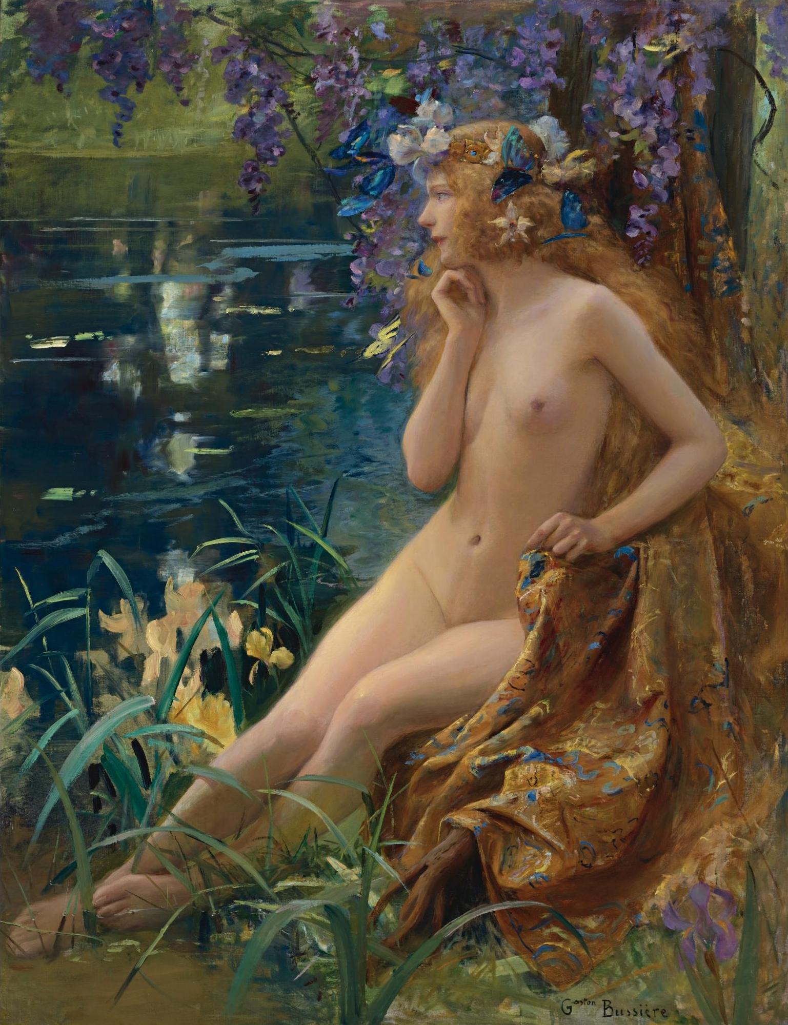 Gaston Bussiere, 1862-1928. Ювента (богиня юности). 146.7 х 114.3 см. Частная коллекция