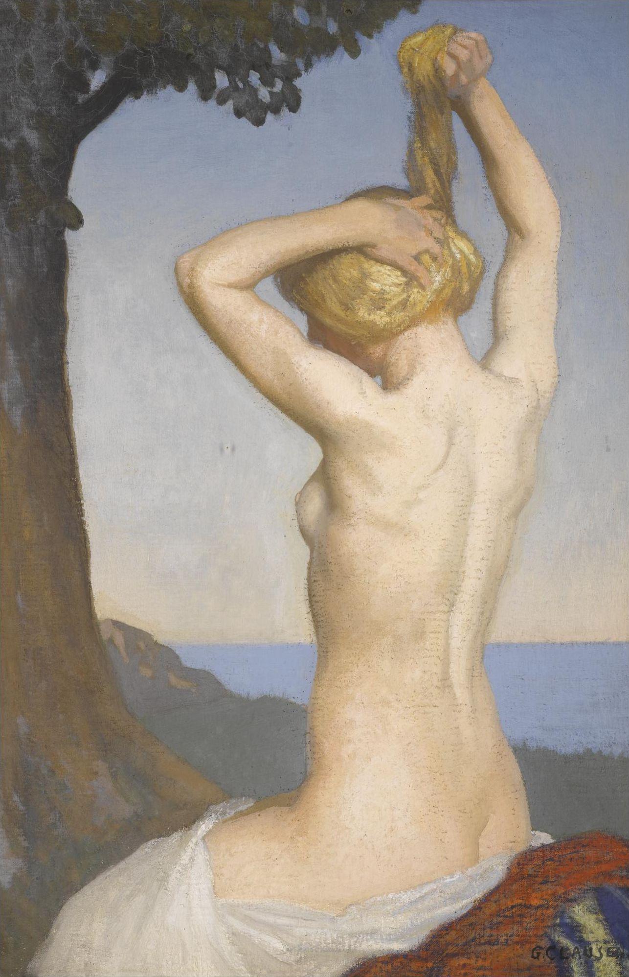 George Clausen, 1852-1944. Обнаженная. 50 х 34 см. Частная коллекция