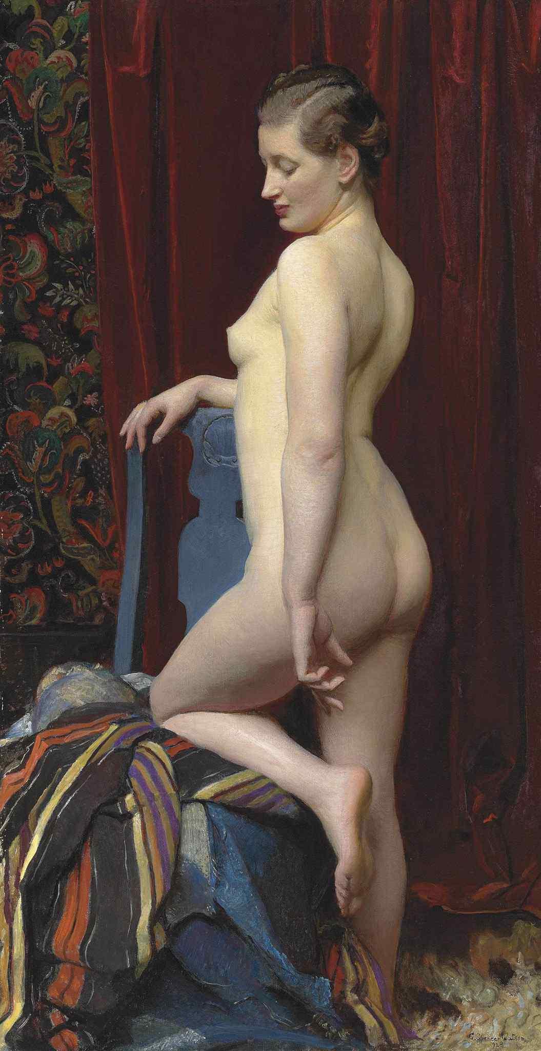 George Spencer Watson, 1869-1934. Стоящая обнаженная. 96.2 x 50.8 см. Частная коллекция
