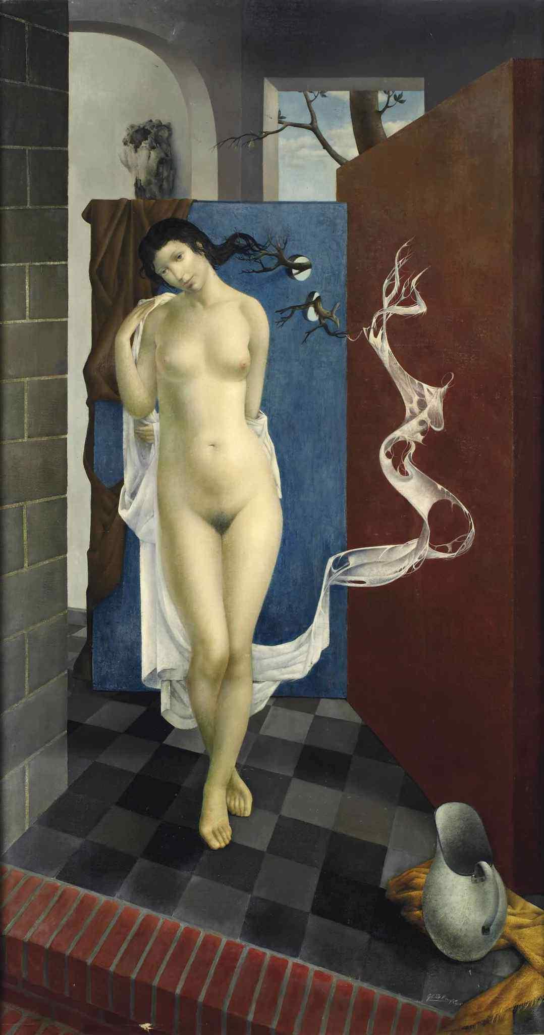 Gustaaf De Bruyne, 1914-1981. Стоящая обнаженная. 149 x 80 см. Частная коллекция
