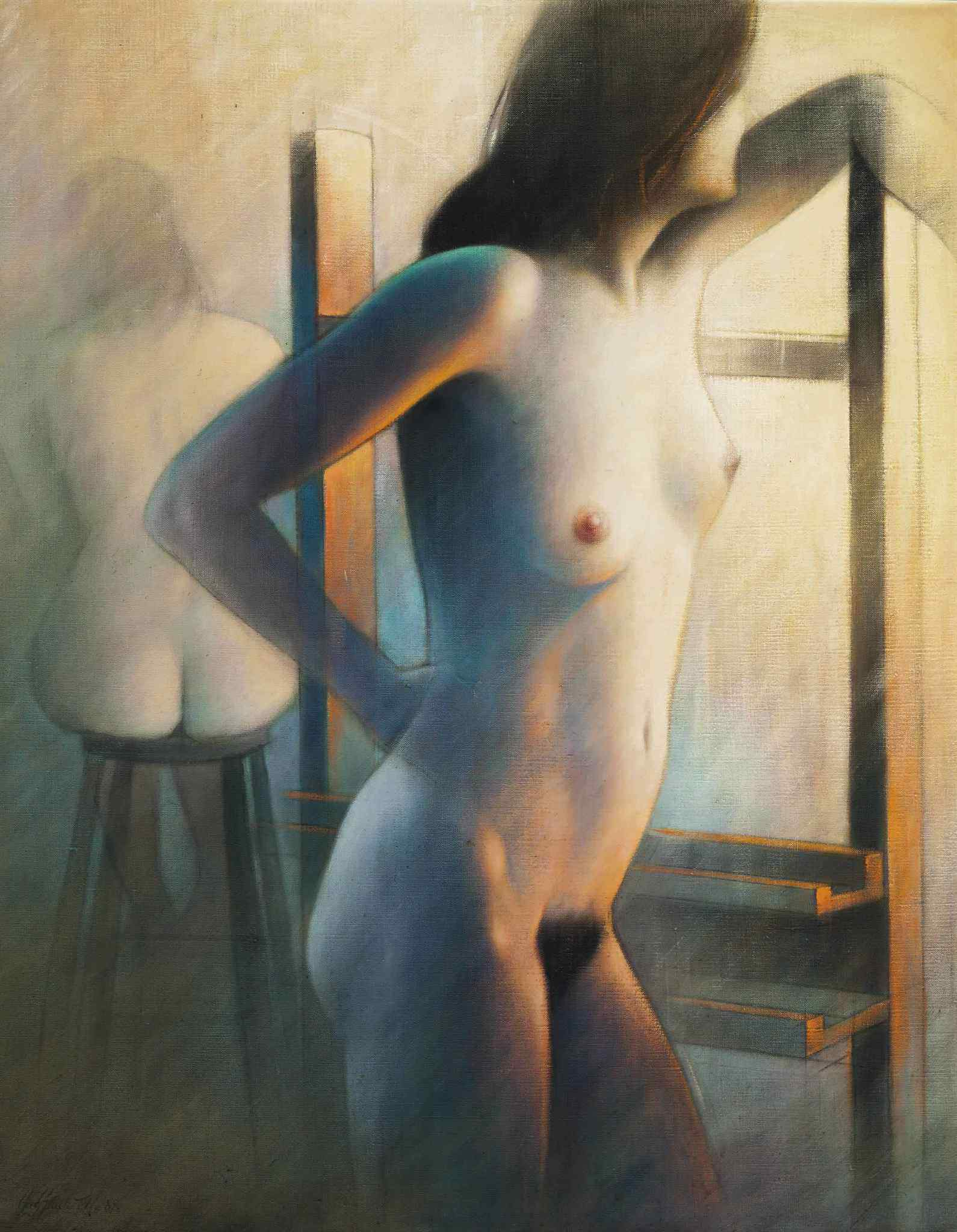 Guy Gladwell, род в 1946. Обнаженная в двух ракурсах. 91 x 71.1 см. Частная коллекция