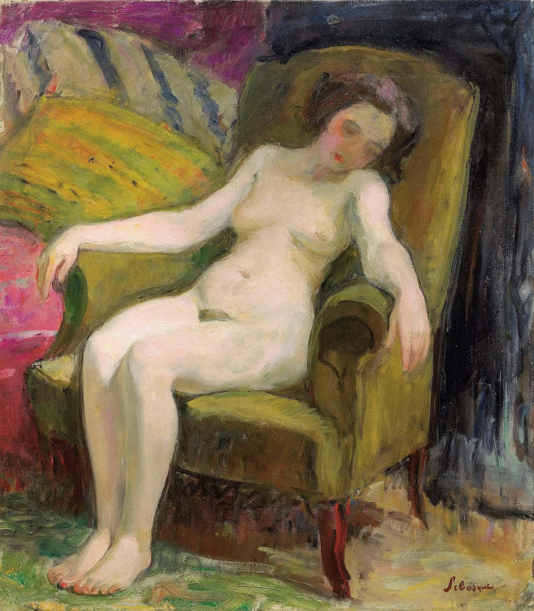 Henri Lebasque, 1865-1937. Обнаженная в кресле. Частная коллекция