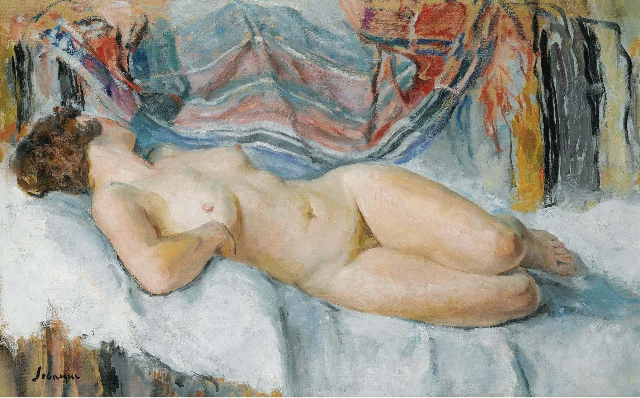 Henri Lebasque, 1865-1937. Обнаженная на постели. 1905. Частная коллекция