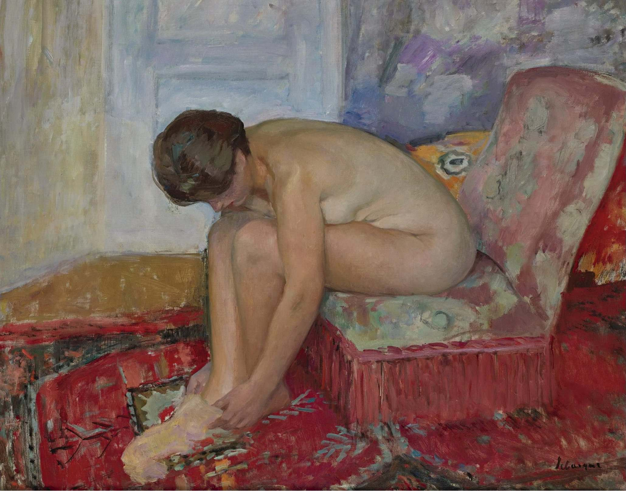 Henri Lebasque, 1865-1937. Сидящая обнаженная-1. Частная коллекция