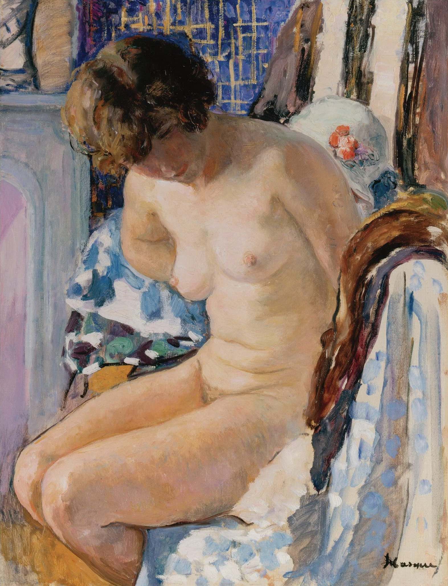 Henri Lebasque, 1865-1937. Сидящая обнаженная-2. Частная коллекция