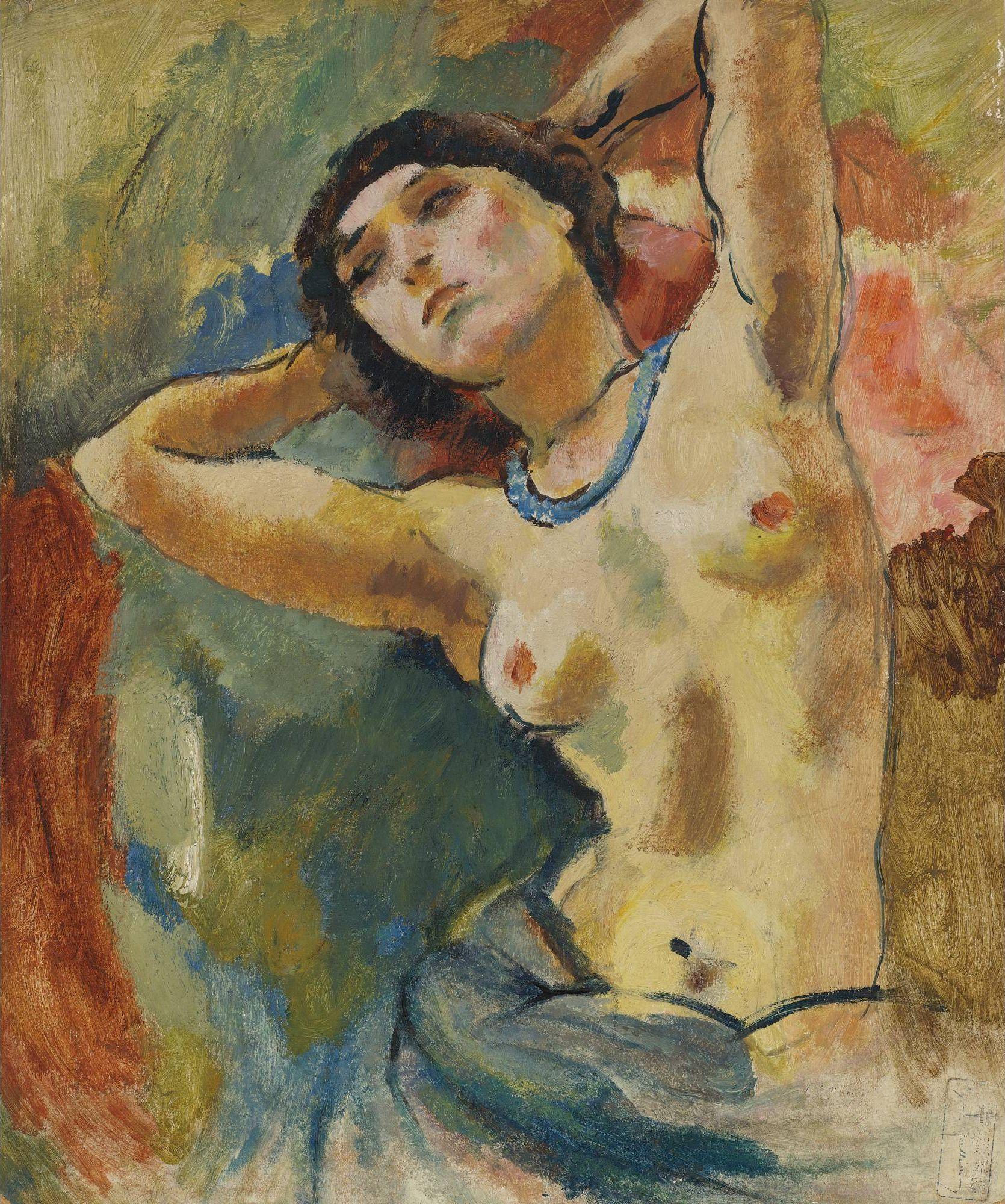 Jules Pascin, 1885-1930. Брюнетка в голубом ожерелье. 1922. 54.6 х 46 см. Частная коллекция