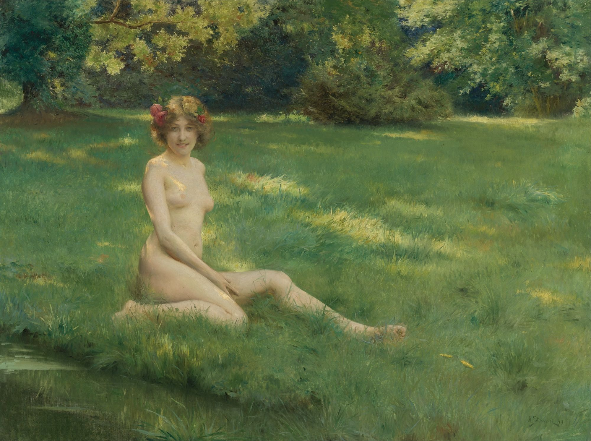 Julius LeBlanc Stewart, 1855- 1919. Обнаженная на лужайке. 1899. 105.7 х 141.1 см. Частная коллекция