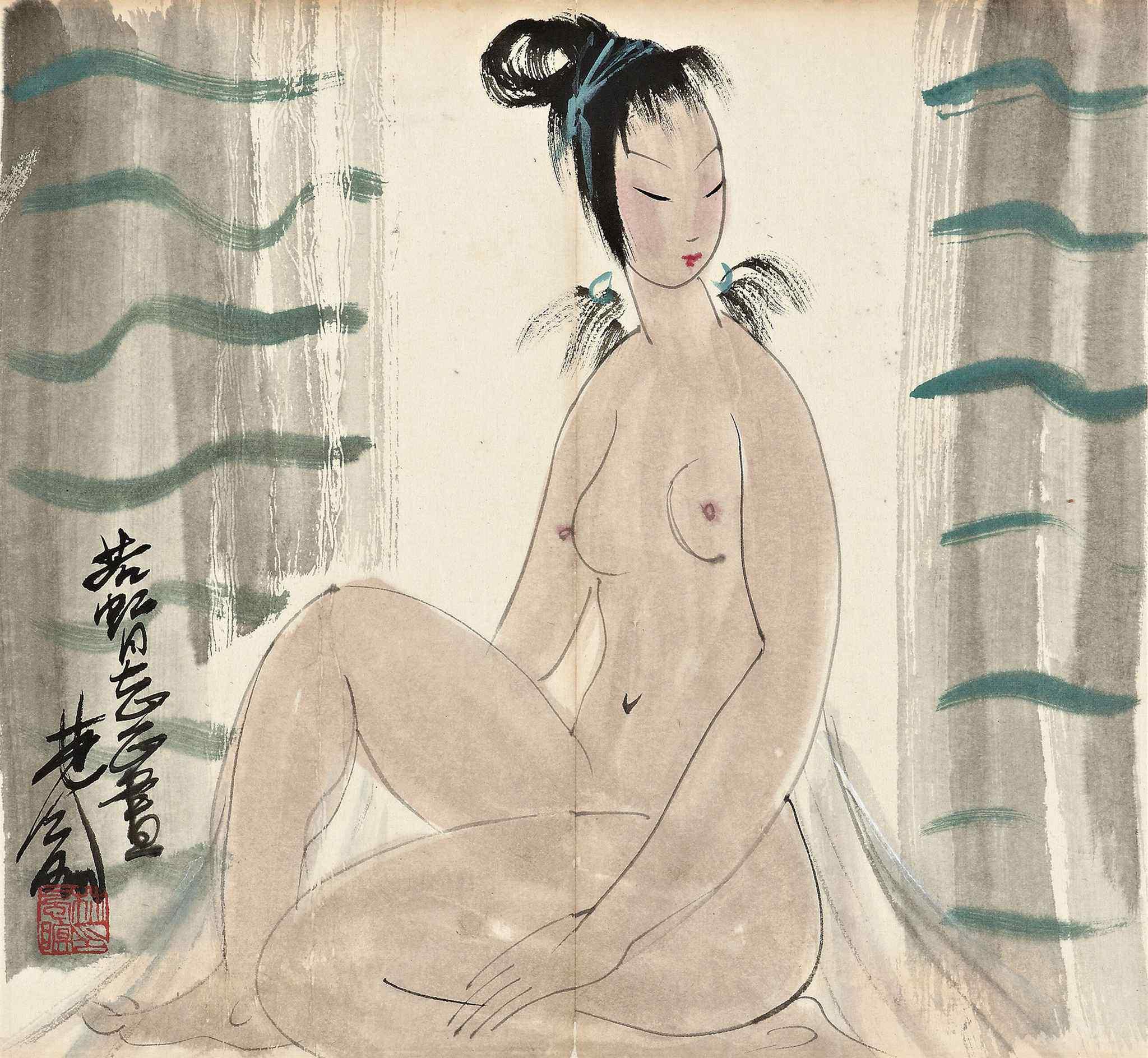 Lin Fengmian, 1900-1991. Обнаженная. 30.3 x 32.8 см. Частная коллекция