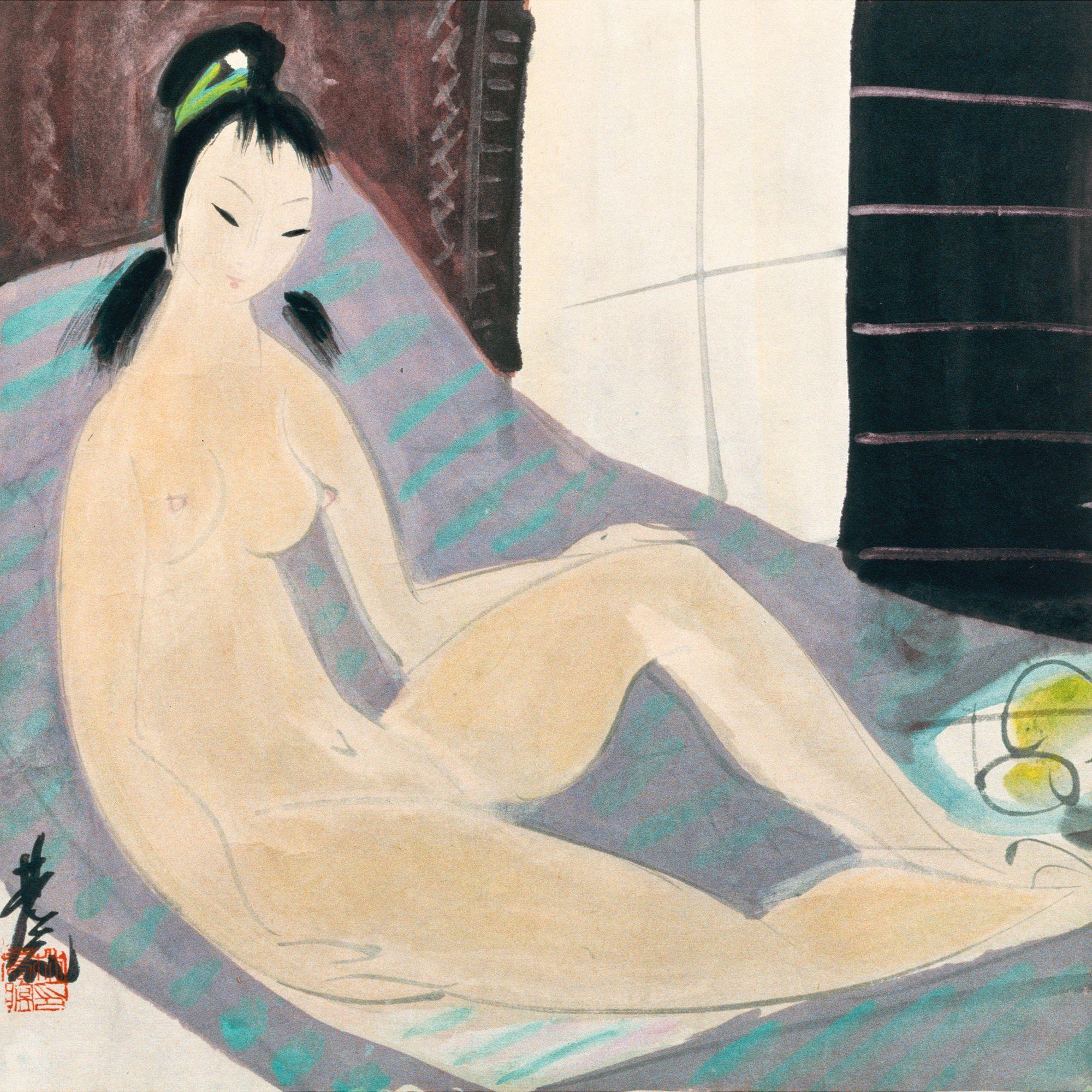 Lin Fengmian, 1900-1991. Обнаженная. 34.4 х 34 см. Частная коллекция