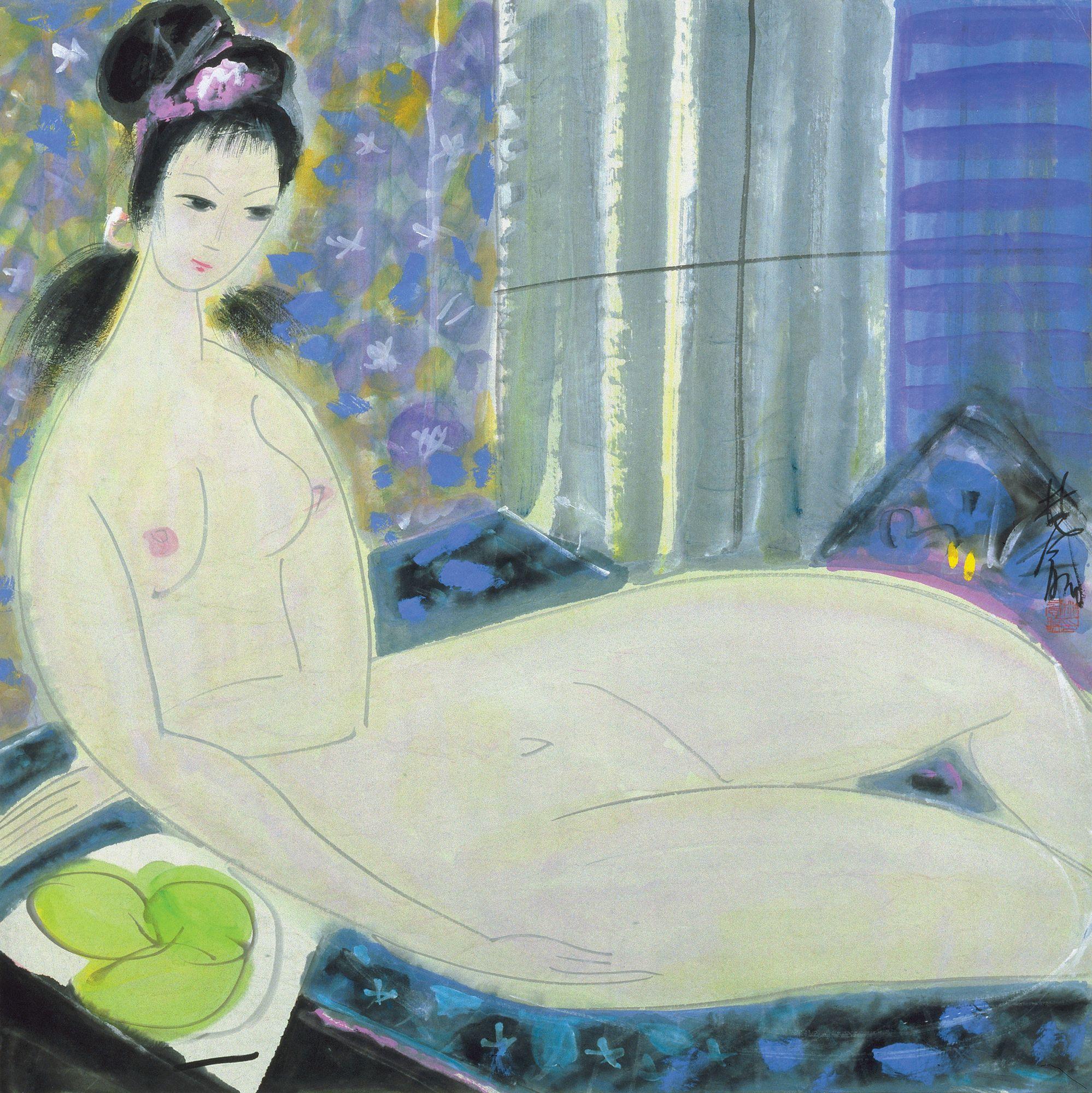Lin Fengmian, 1900-1991. Обнаженная. 66.9 х 67.4 см. Частная коллекция