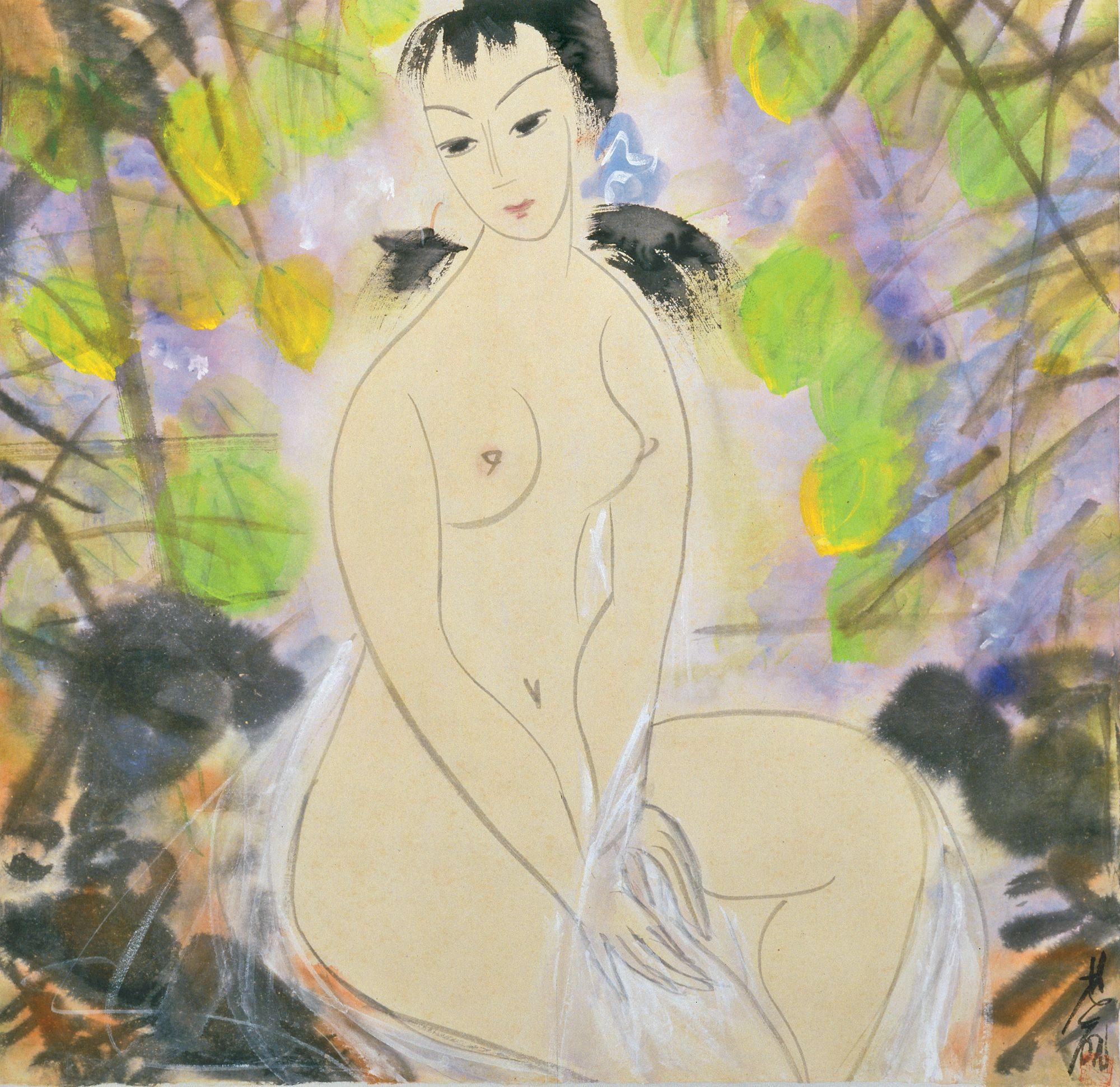 Lin Fengmian, 1900-1991. Обнаженная. 69 х 66.9 см. Частная коллекция