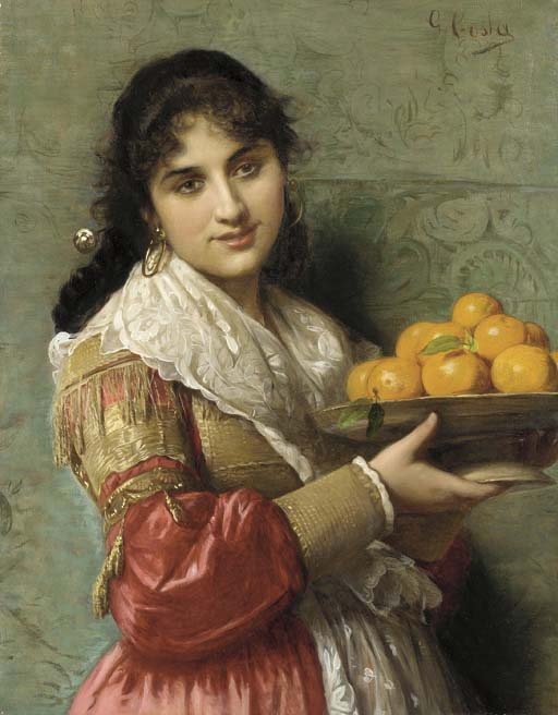 A Young Italian Beauty with a Plate of Oranges