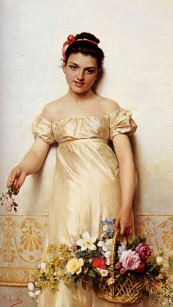 A Young Lady Holding A Basket Of Flowers