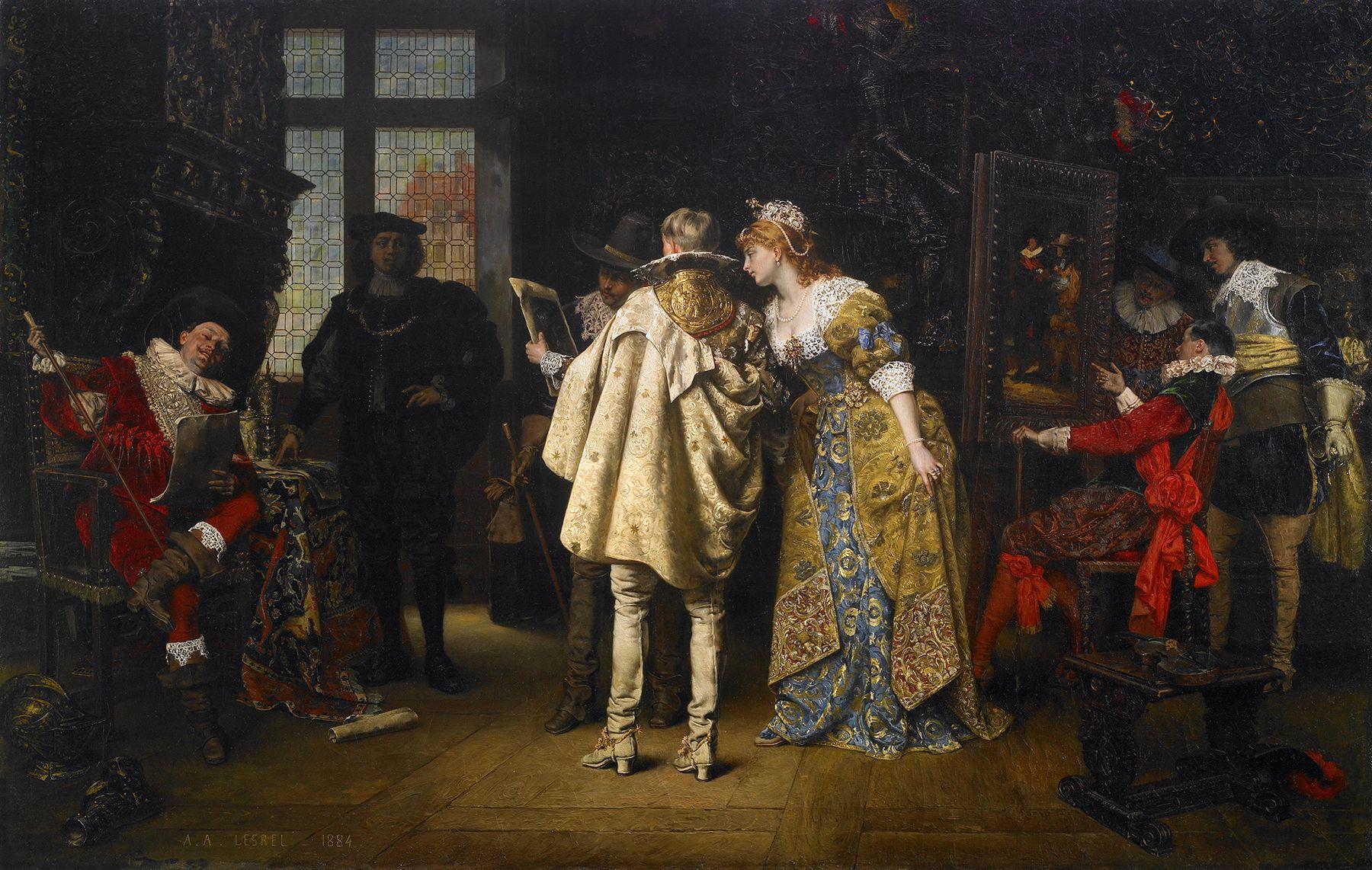 Flemish lords visiting Rembrandt studio