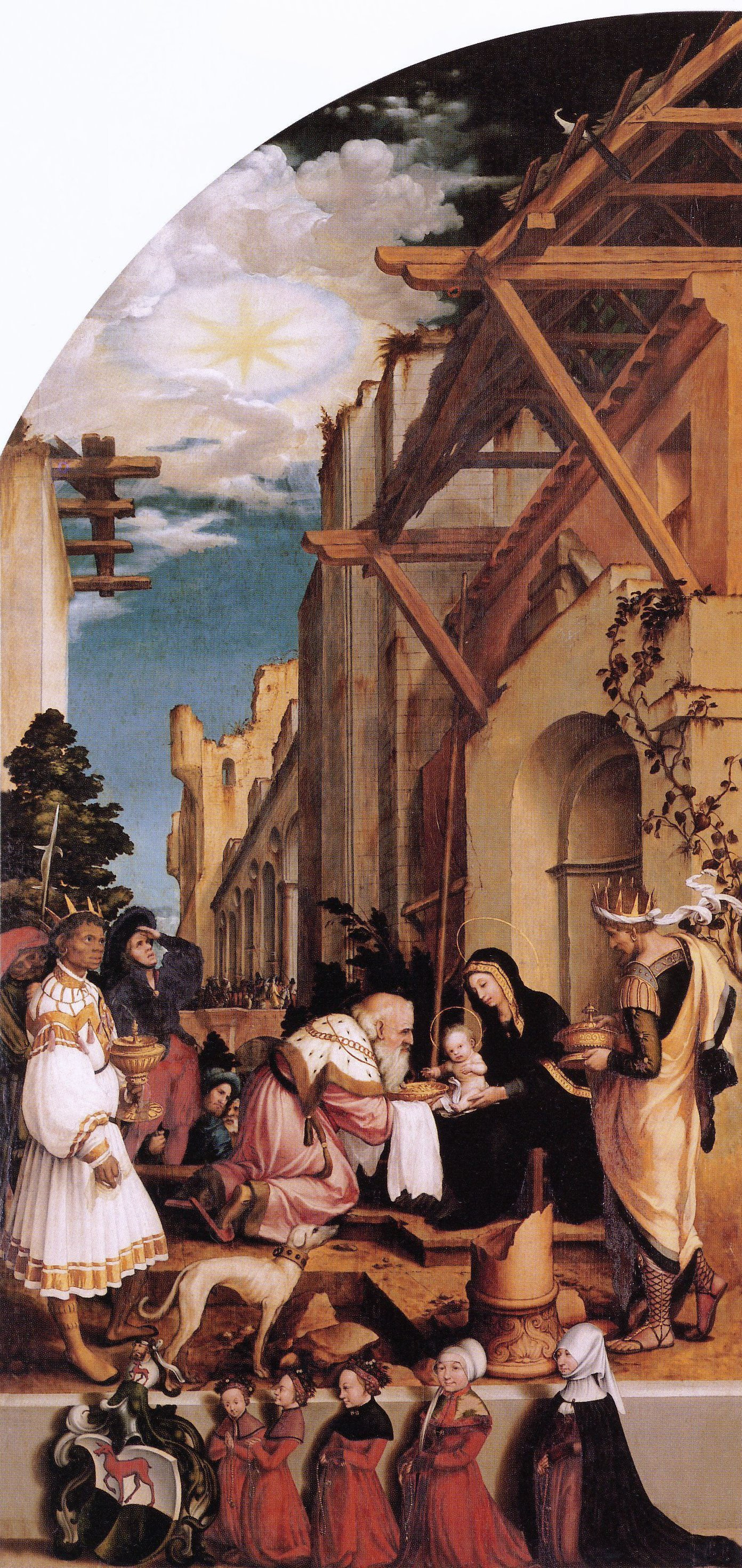 Oberried Altarpiece, left interior wing The Adoration of the Magi. c.1520