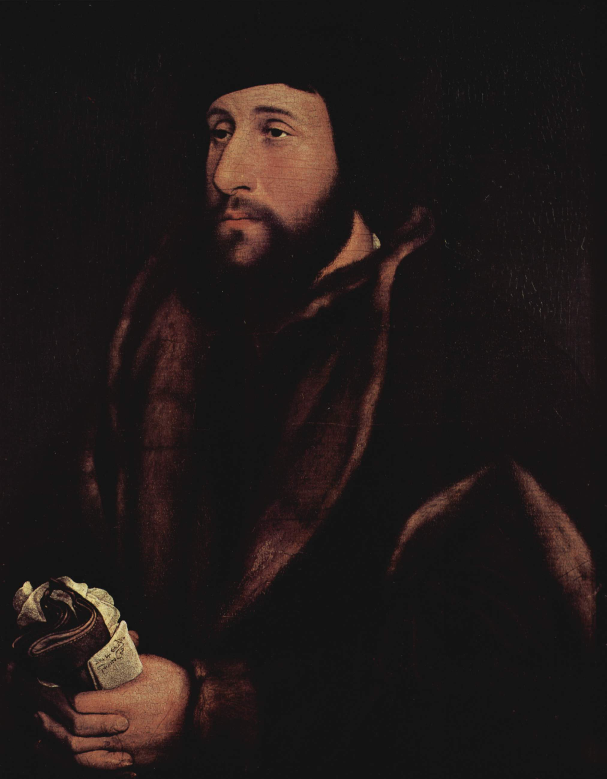 Portrait of a man with a letter and gloves. c.1540