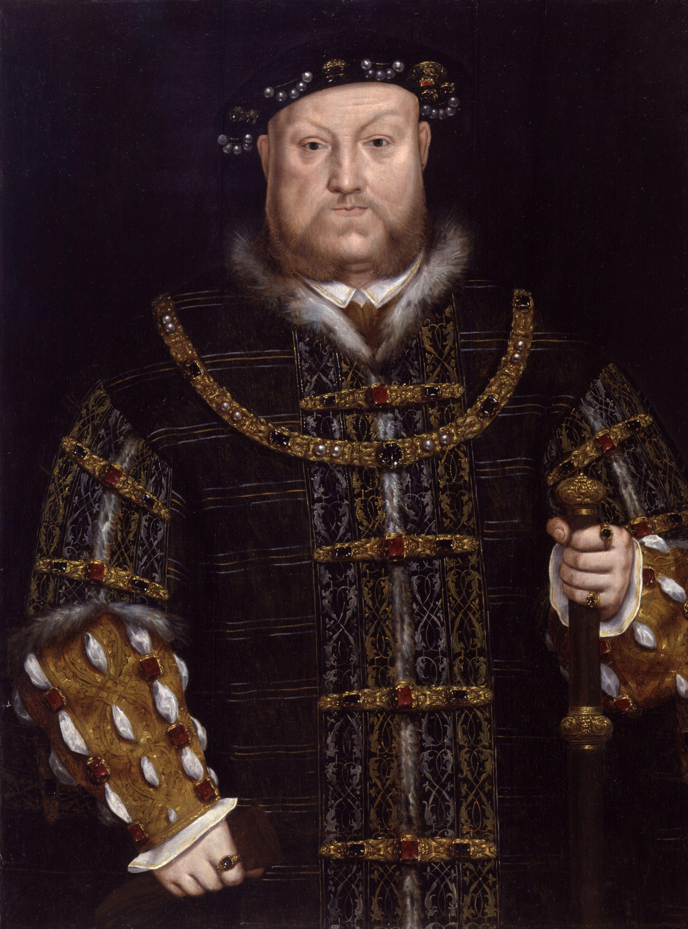 Portrait of Henry VIII in a Great Coat Holding a Staff