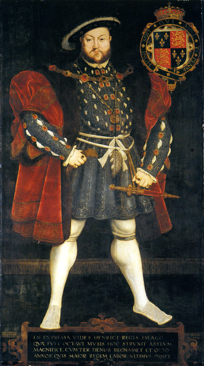 Portrait of Henry VIII of England after the Whitehall mural by Hans Holbein the Younger. 1567