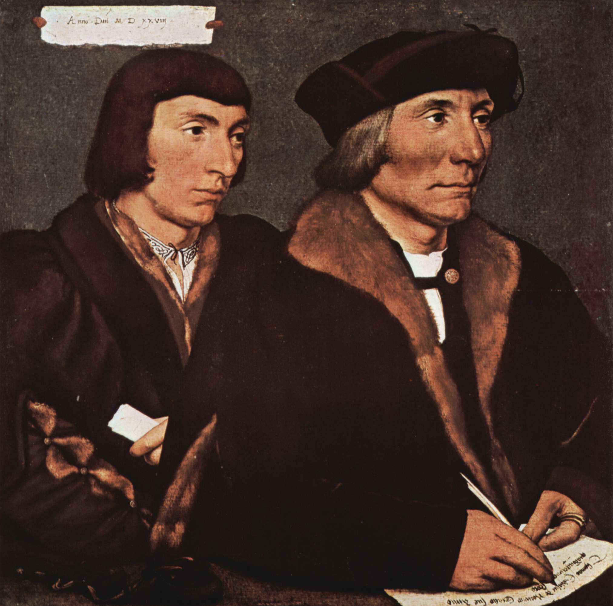 Portrait of Thomas Godsalve with his son John. 1528