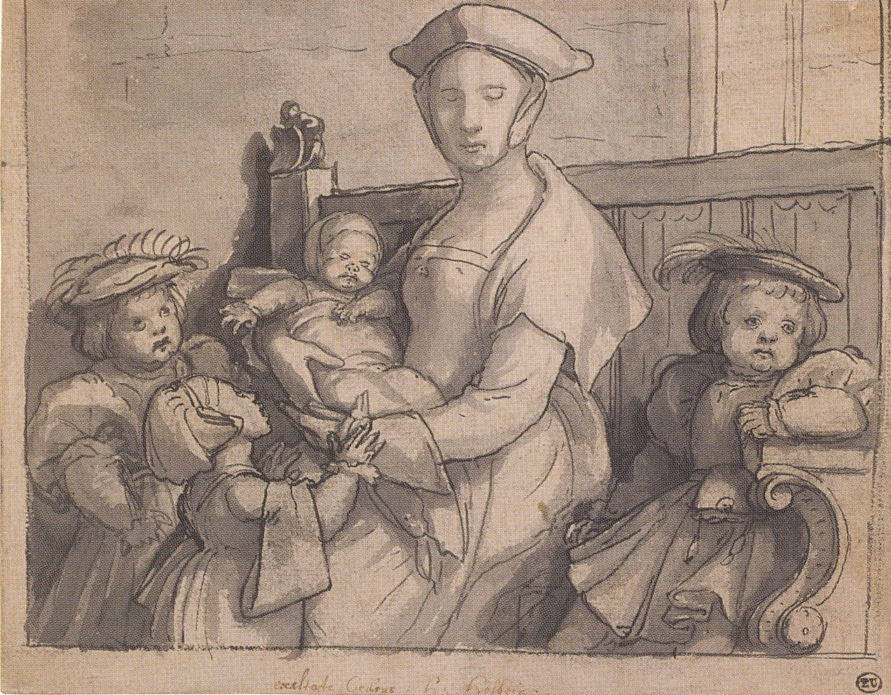 A Woman Seated on a Settle with Four Children. 1532-34