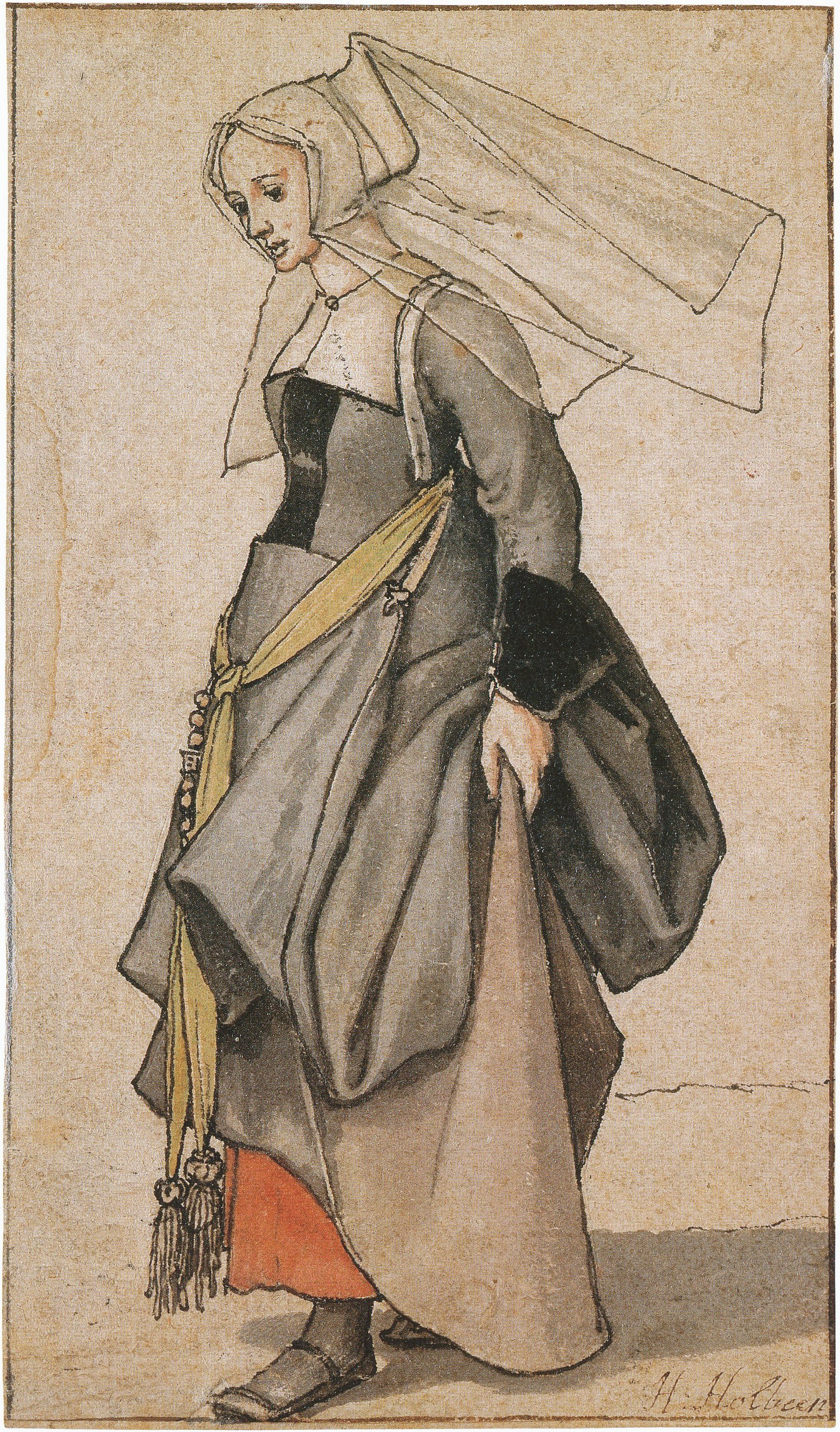 A Young Englishwoman, costume study. 1526–28 or c. 1532–35